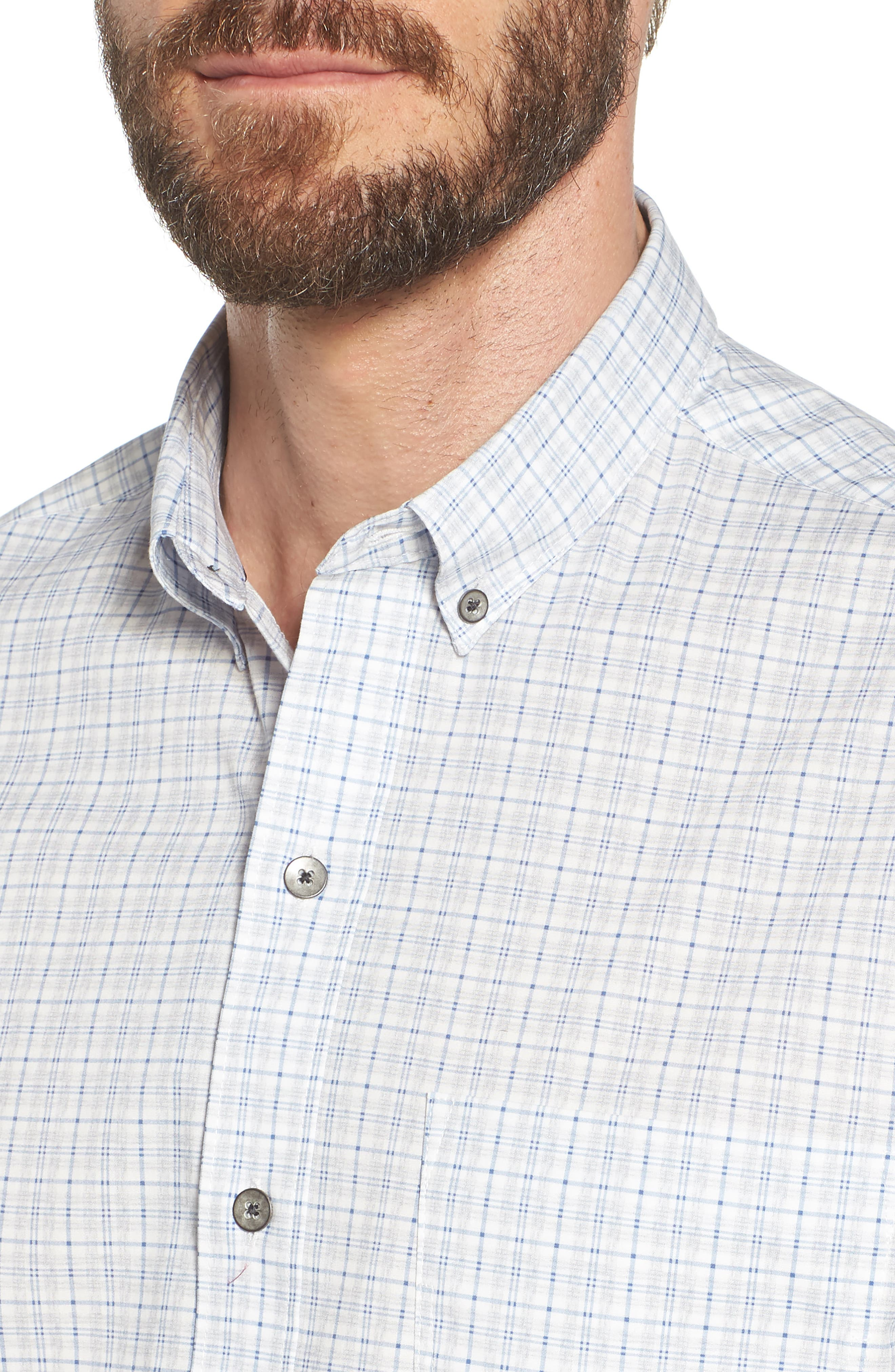Heather Slim Fit Check Sport Shirt,                             Alternate thumbnail 4, color,                             Blue