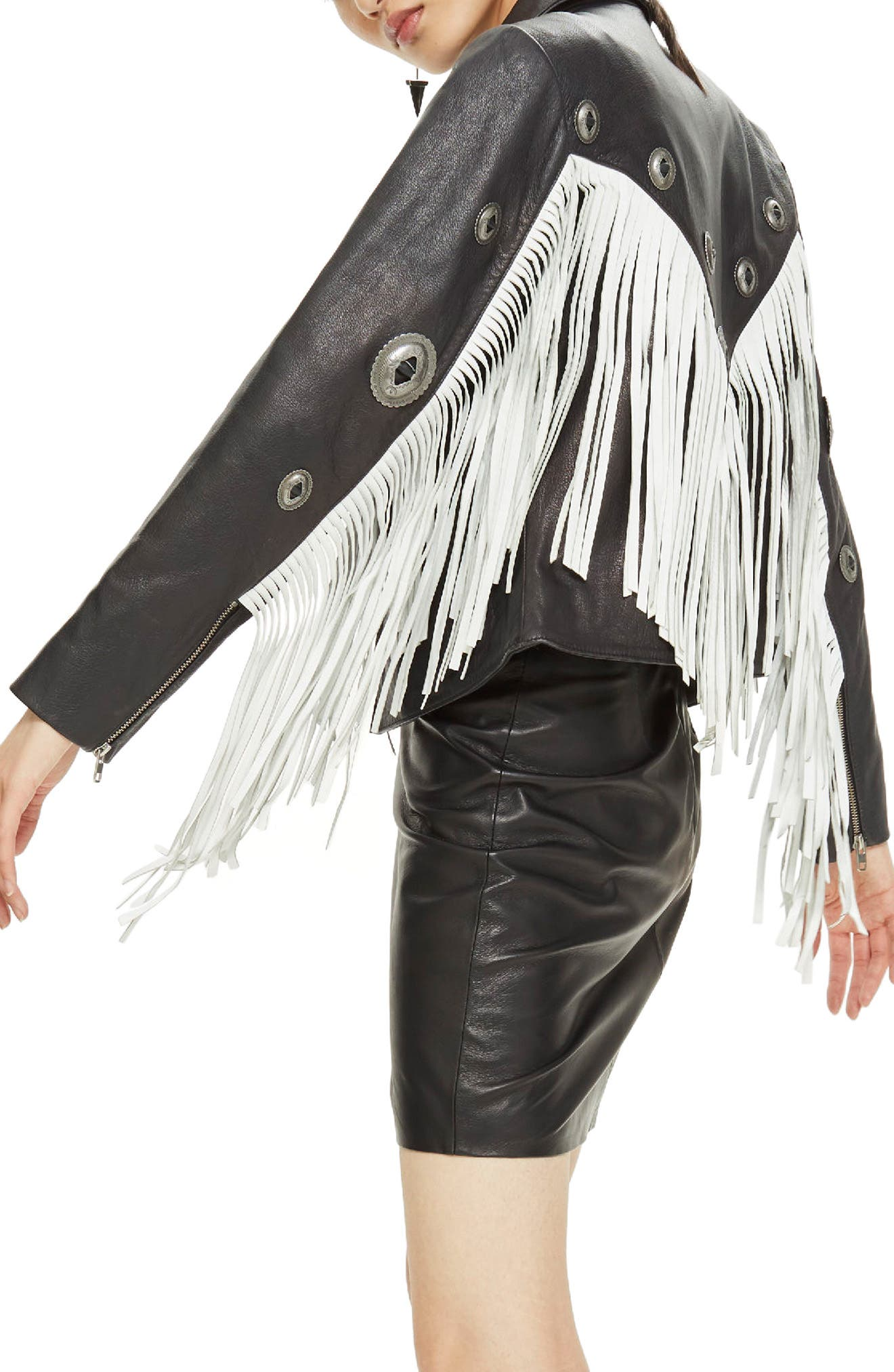 Austin Fringe Leather Biker Jacket,                             Alternate thumbnail 3, color,                             Black Multi