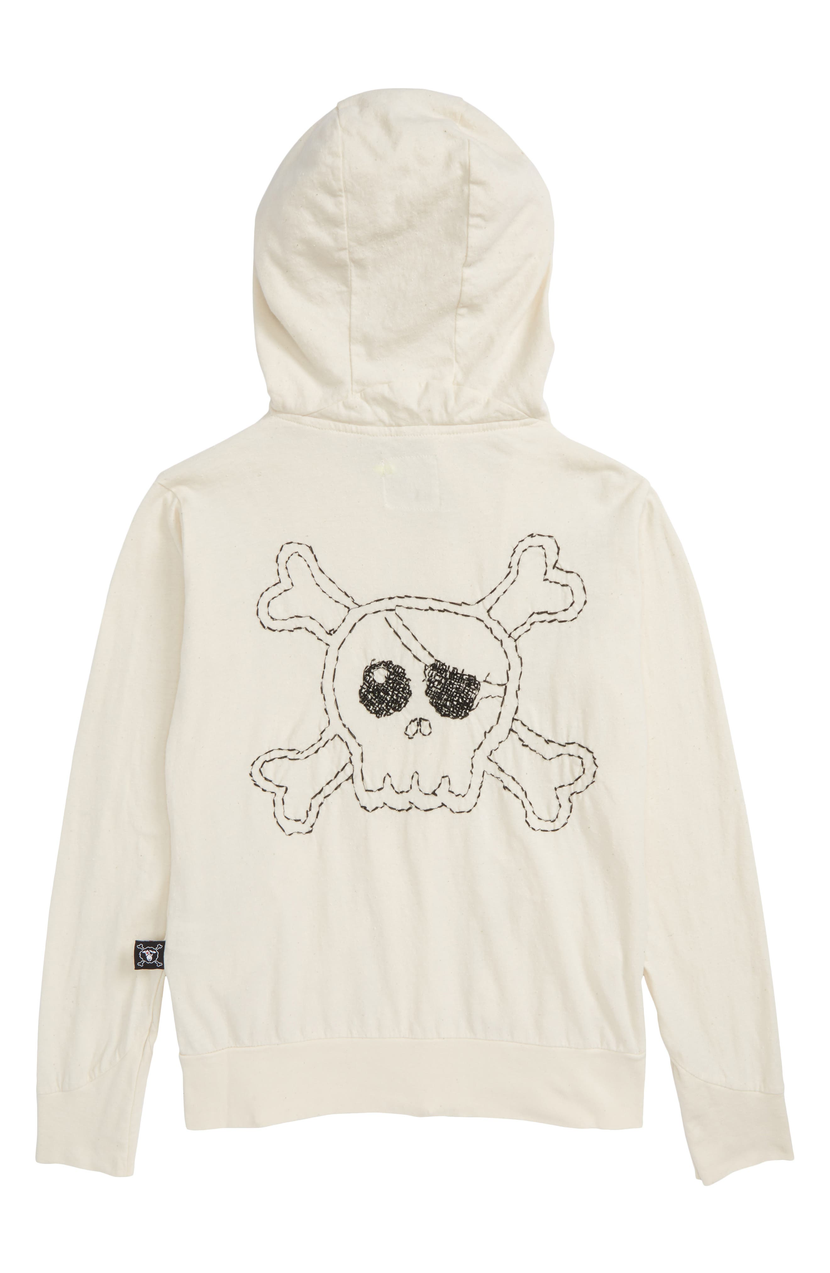 Embroidered Skull Zip Front Hoodie,                             Alternate thumbnail 2, color,                             White