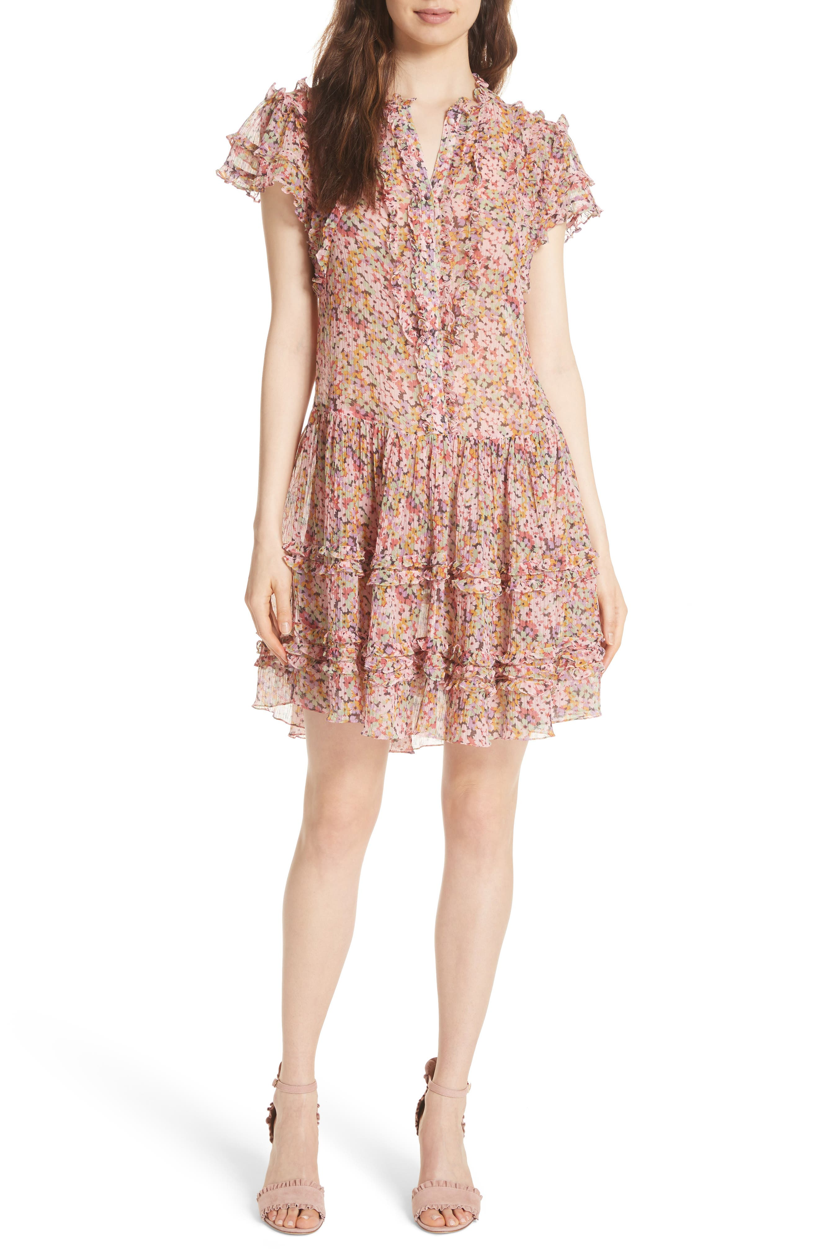 Alternate Image 1 Selected - Rebecca Taylor Margo Ruffled Floral Drop Waist Dress