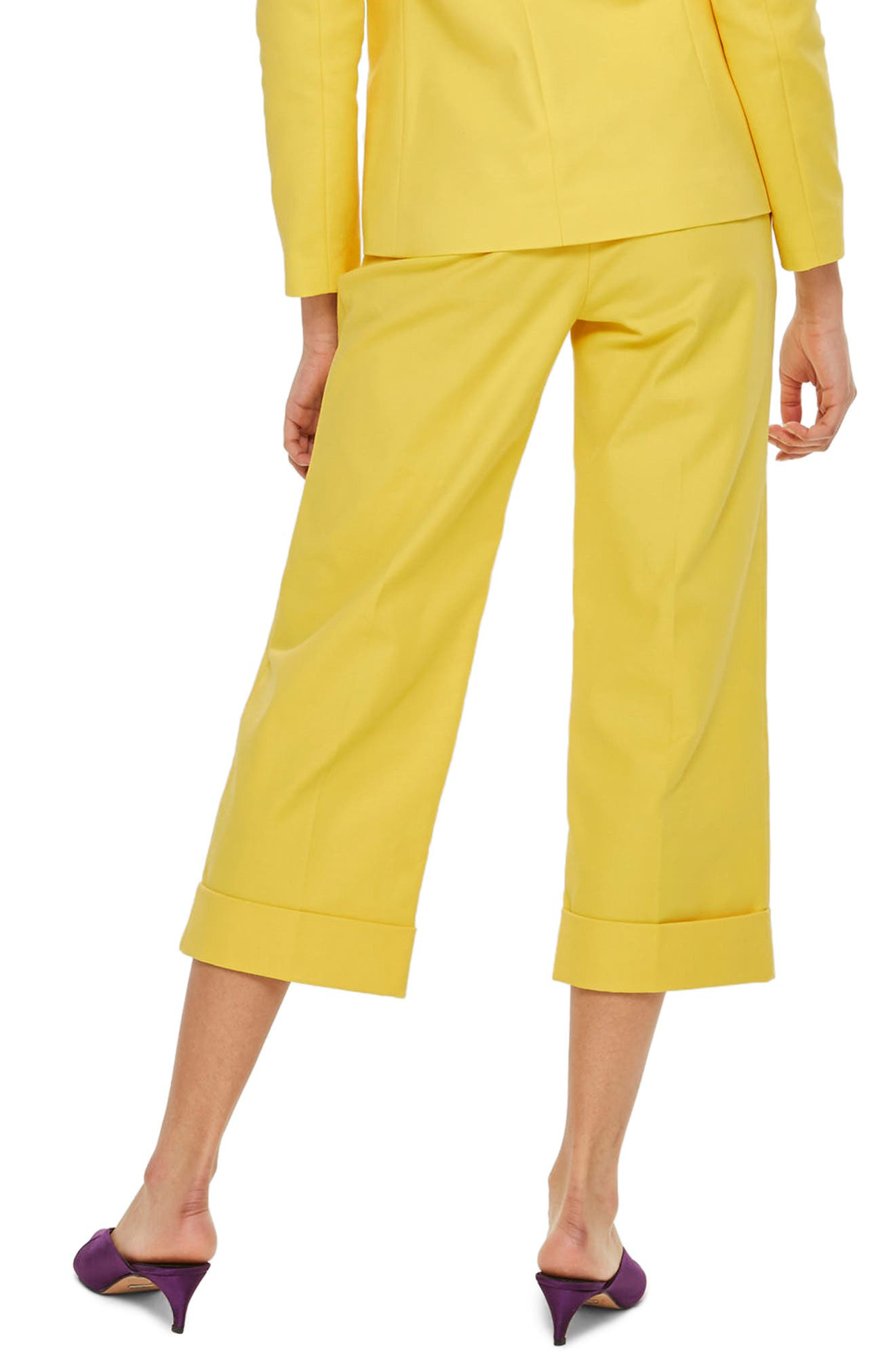 Milly Crop Suit Trousers,                             Alternate thumbnail 3, color,                             Yellow