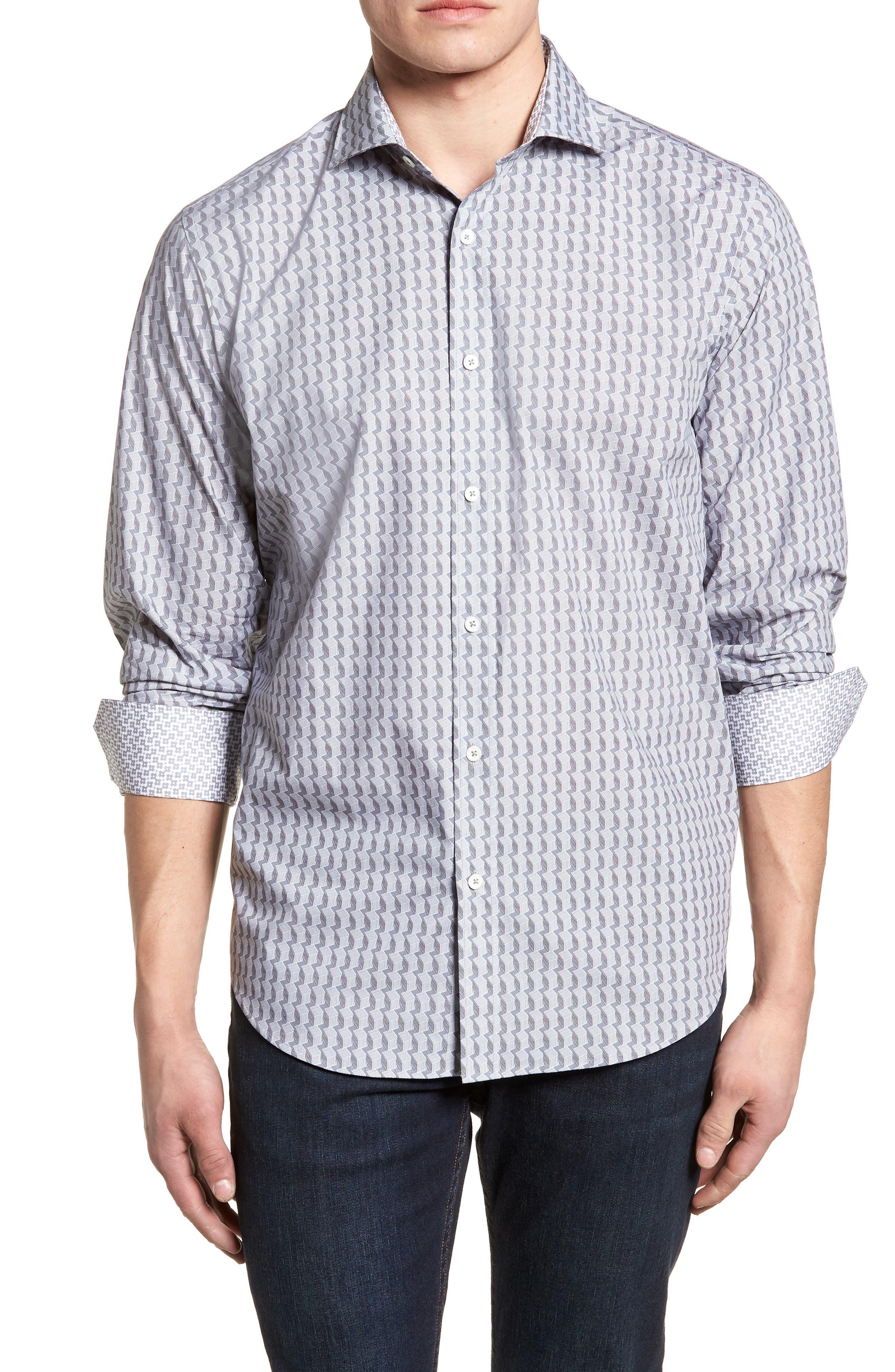Classic Fit Woven Sport Shirt,                         Main,                         color, Platinum