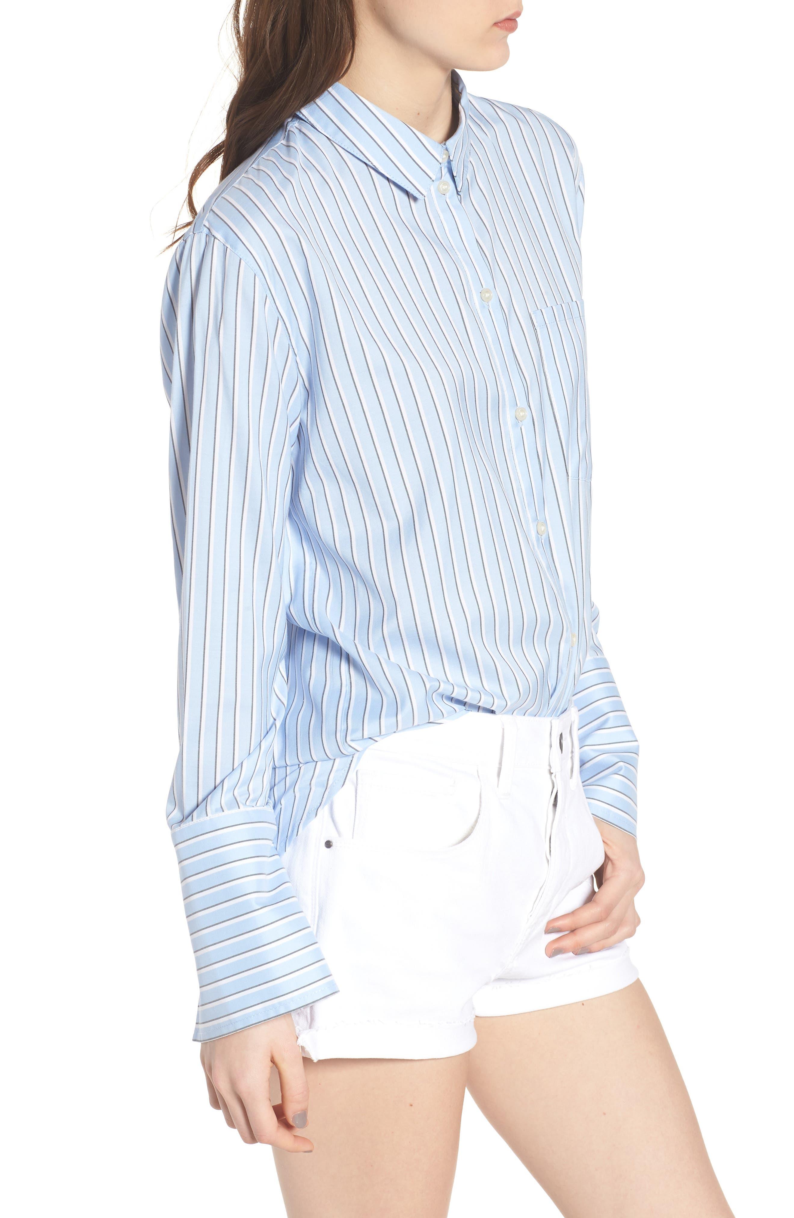Stripe Button Front Shirt,                             Alternate thumbnail 3, color,                             Blue Brunnera Groove Stripe