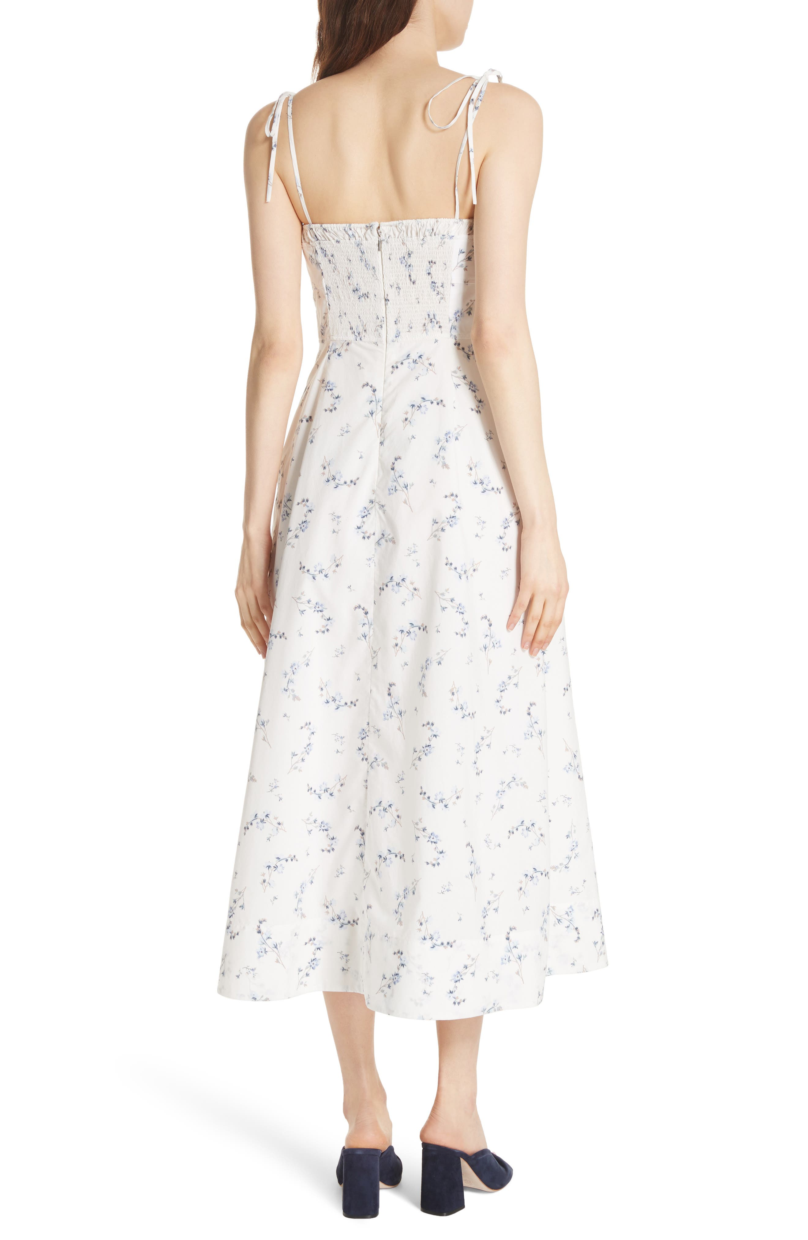 Francine Floral Cotton Poplin Dress,                             Alternate thumbnail 2, color,                             Snow Combo
