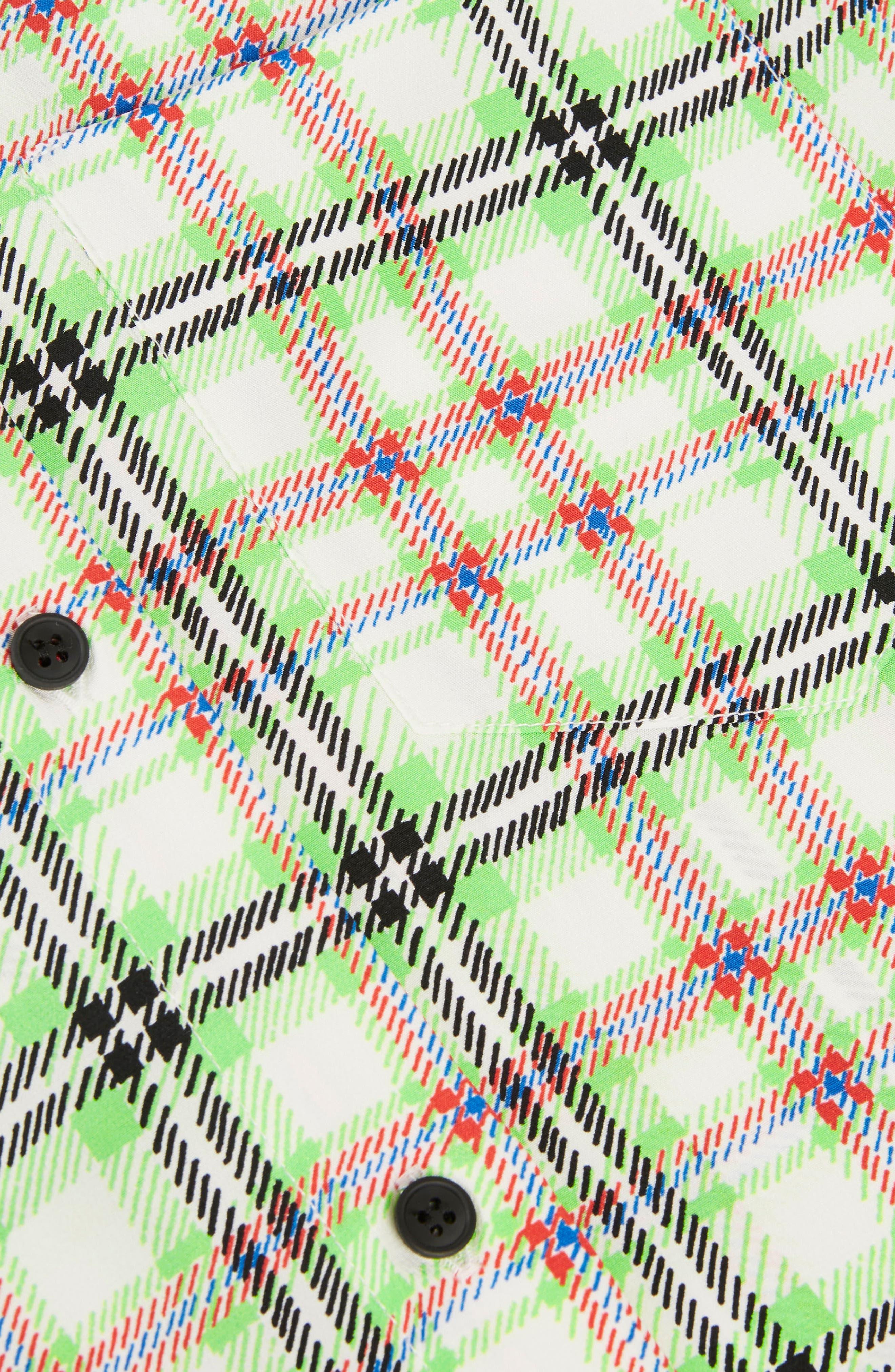 Silk Bowling Shirt,                             Alternate thumbnail 4, color,                             Green Multi