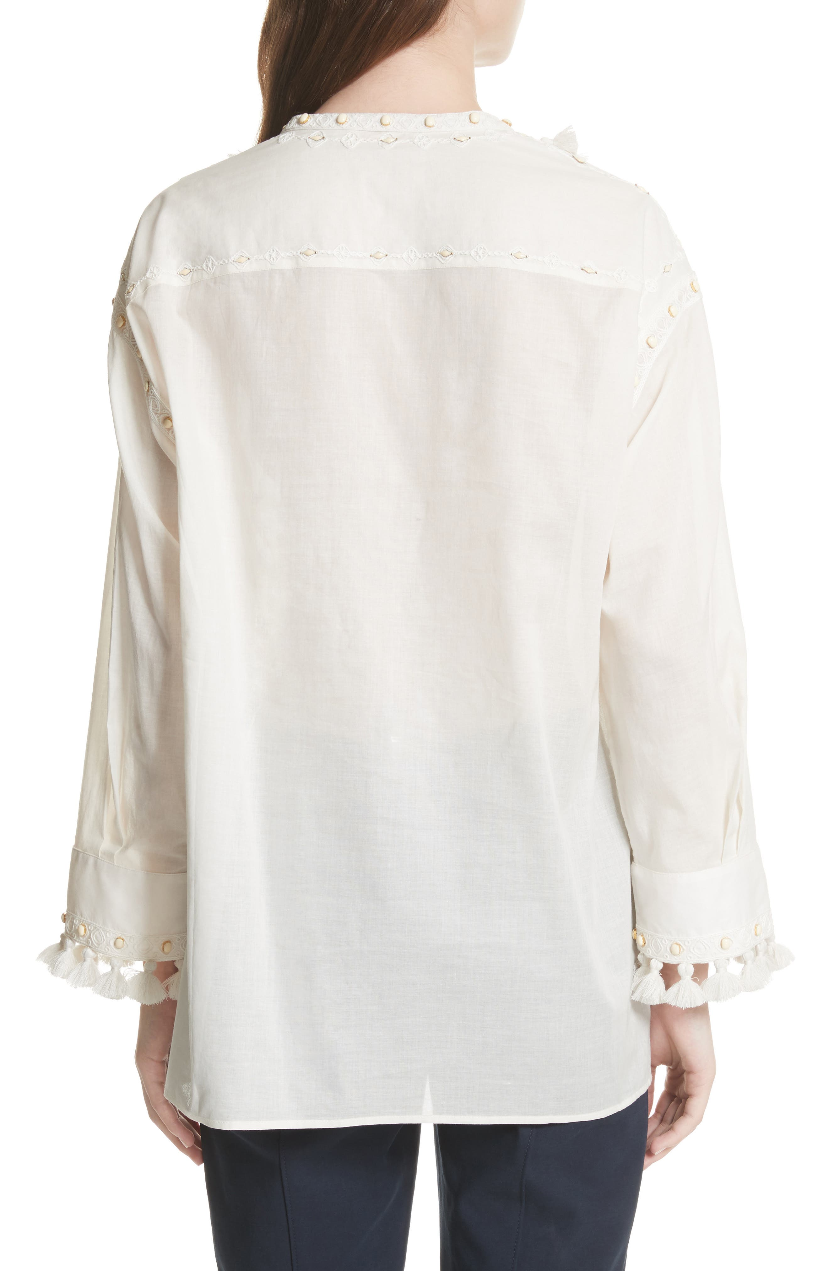 Lizzie Tassel Trim Tunic,                             Alternate thumbnail 2, color,                             New Ivory