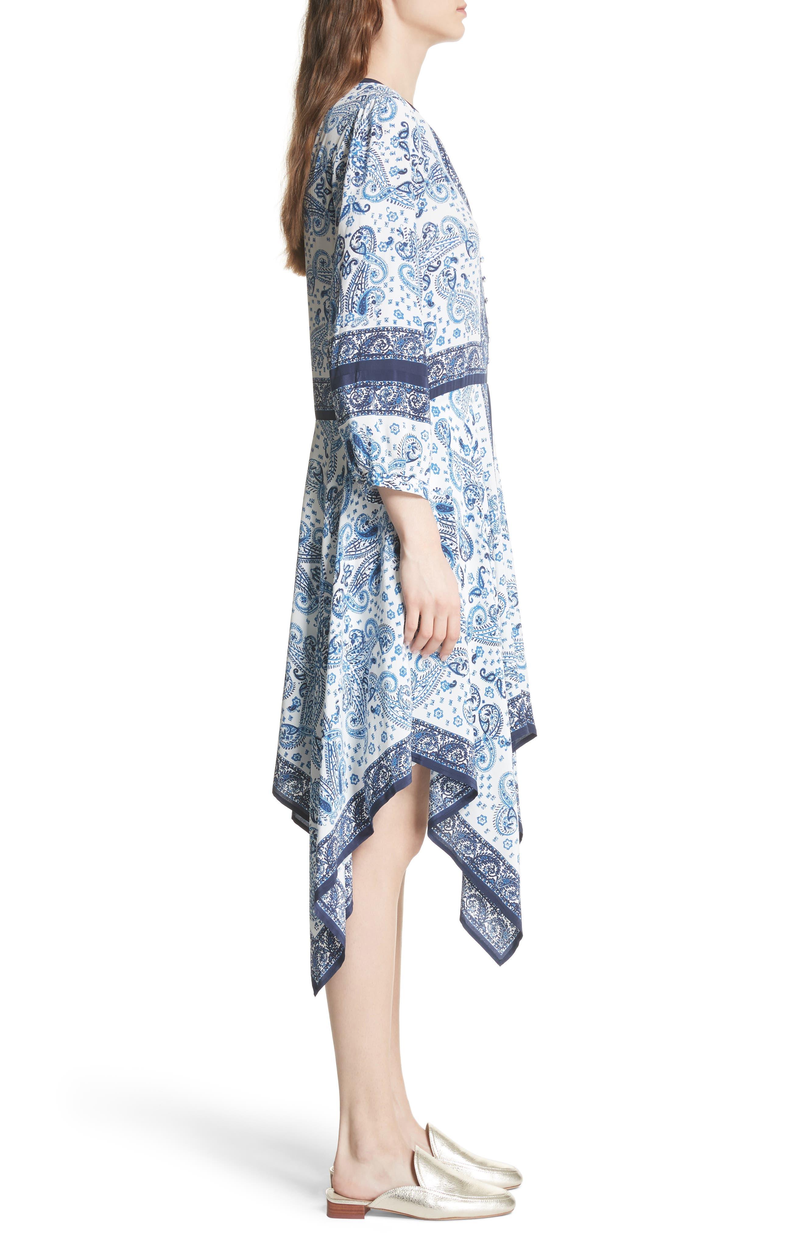 Cyntia Paisley Silk Dress,                             Alternate thumbnail 3, color,                             Porcelain