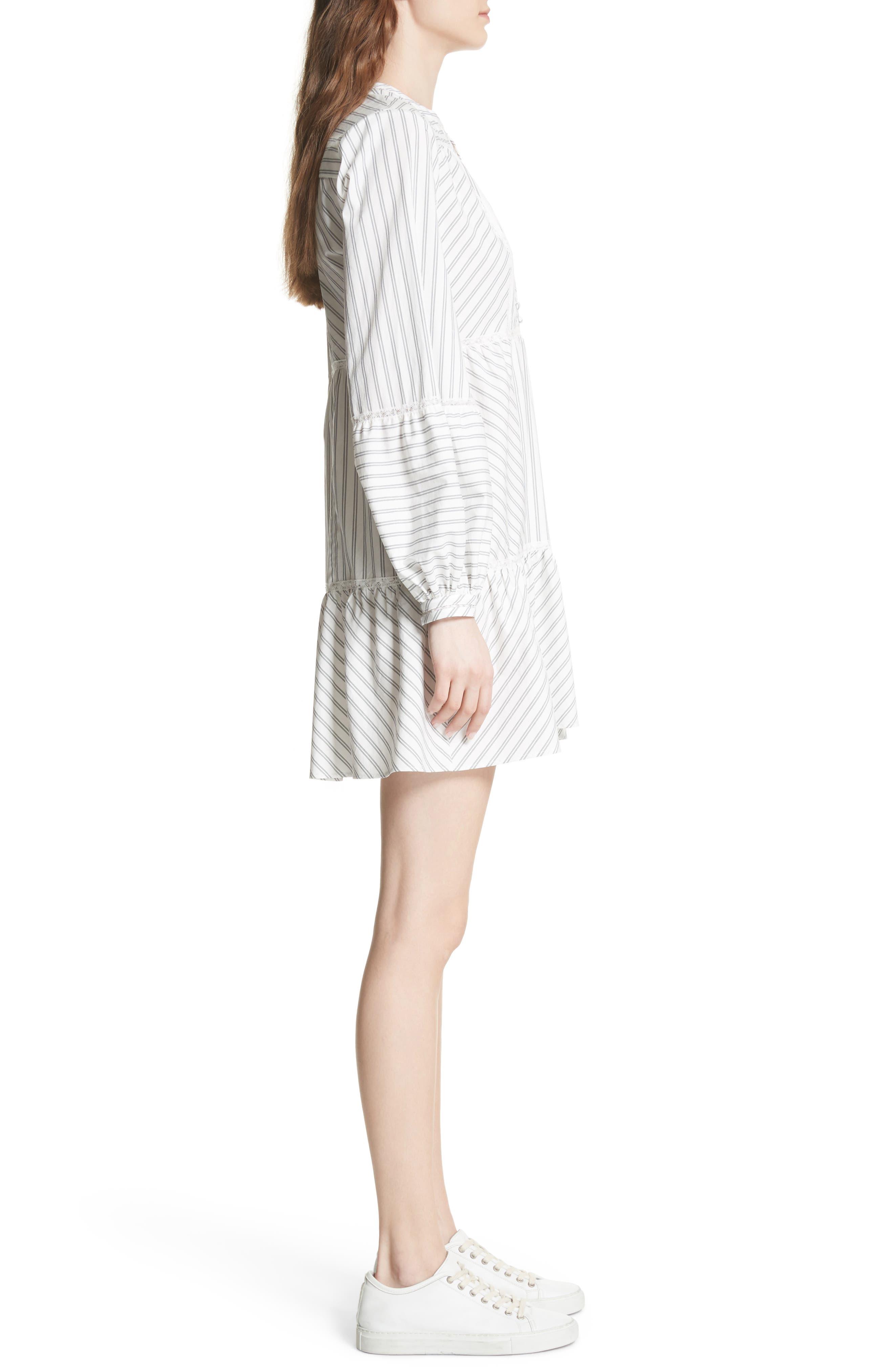 Marison Stripe A-Line Dress,                             Alternate thumbnail 3, color,                             Porcelain