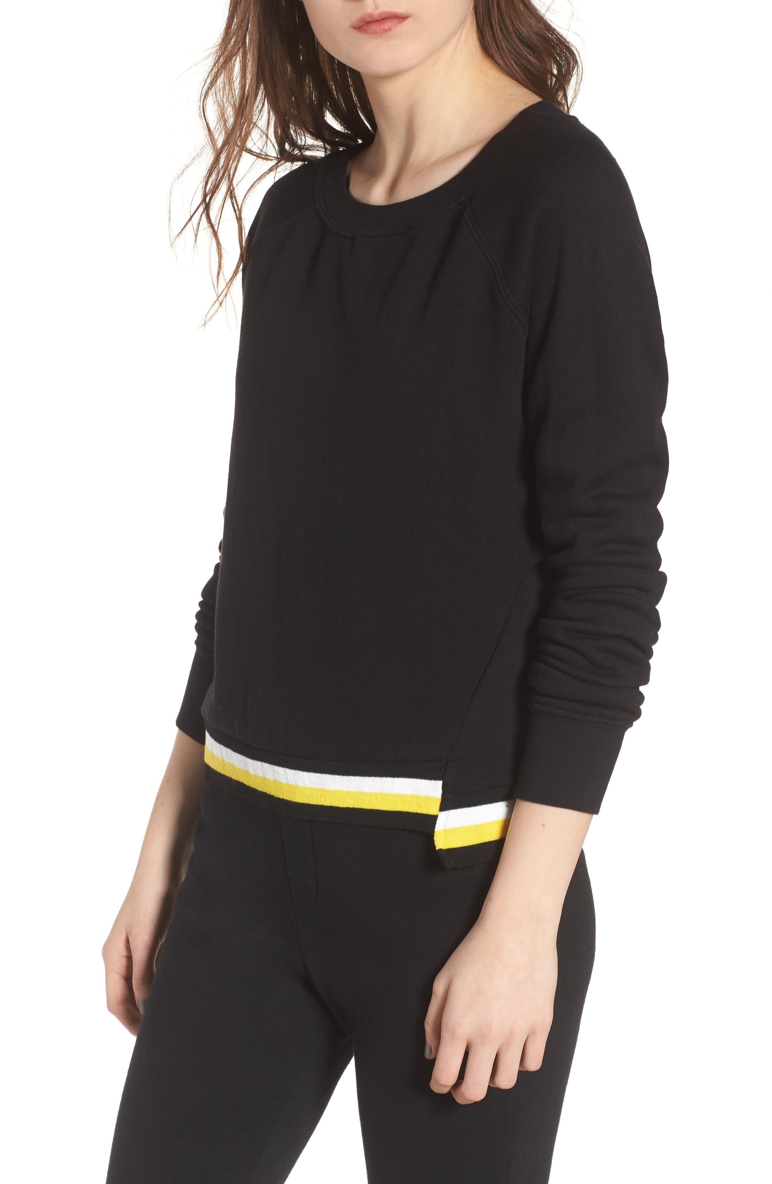 Stripe Trim Step Hem Sweatshirt,                         Main,                         color, Black