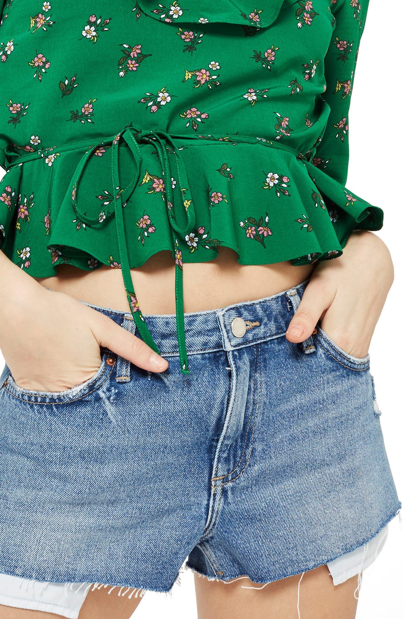 Alternate Image 1 Selected - Topshop Cory Moto Mid Denim Shorts