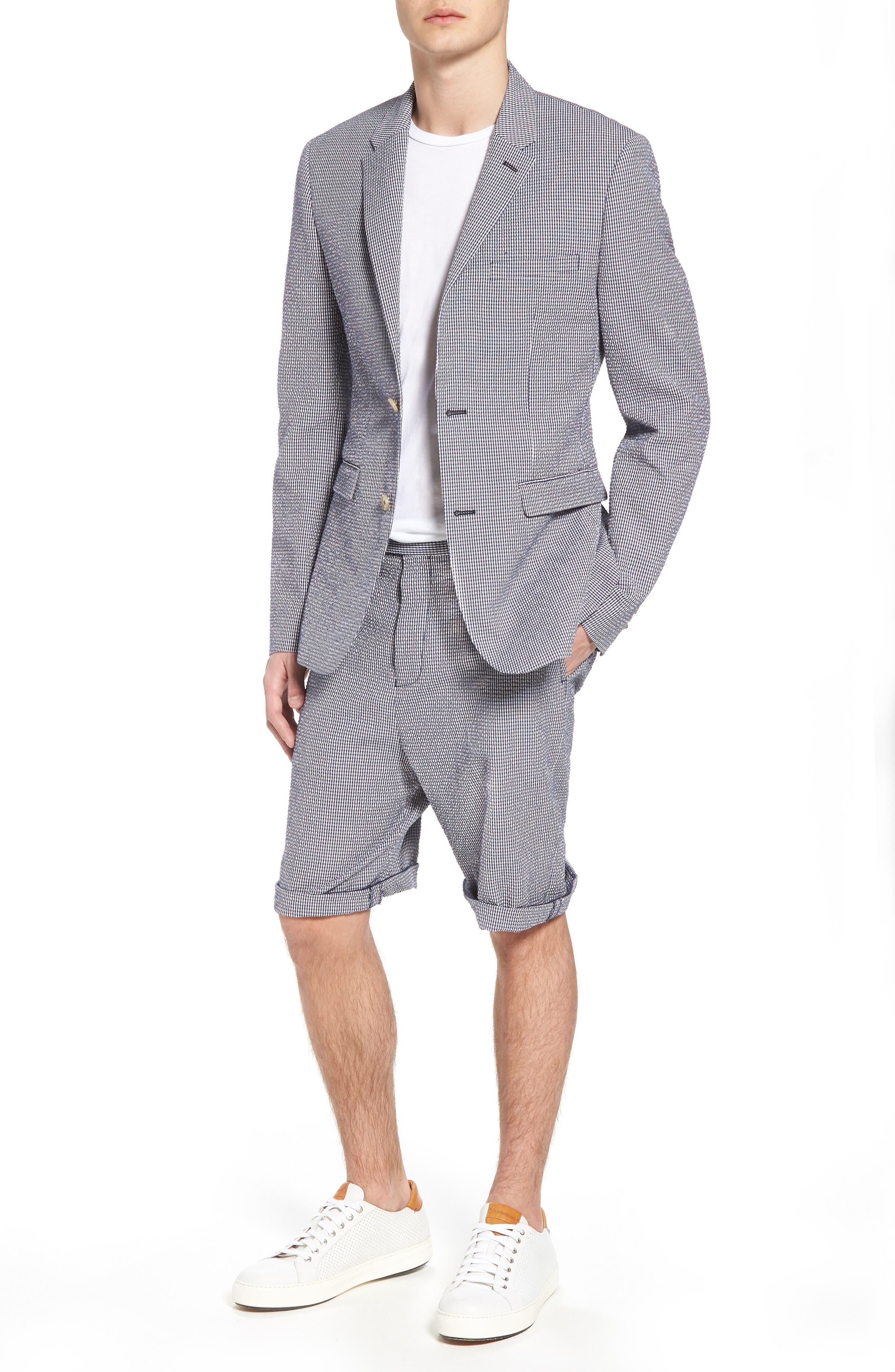Slim Fit Stretch Seersucker Sport Coat,                         Main,                         color, Marine Blue