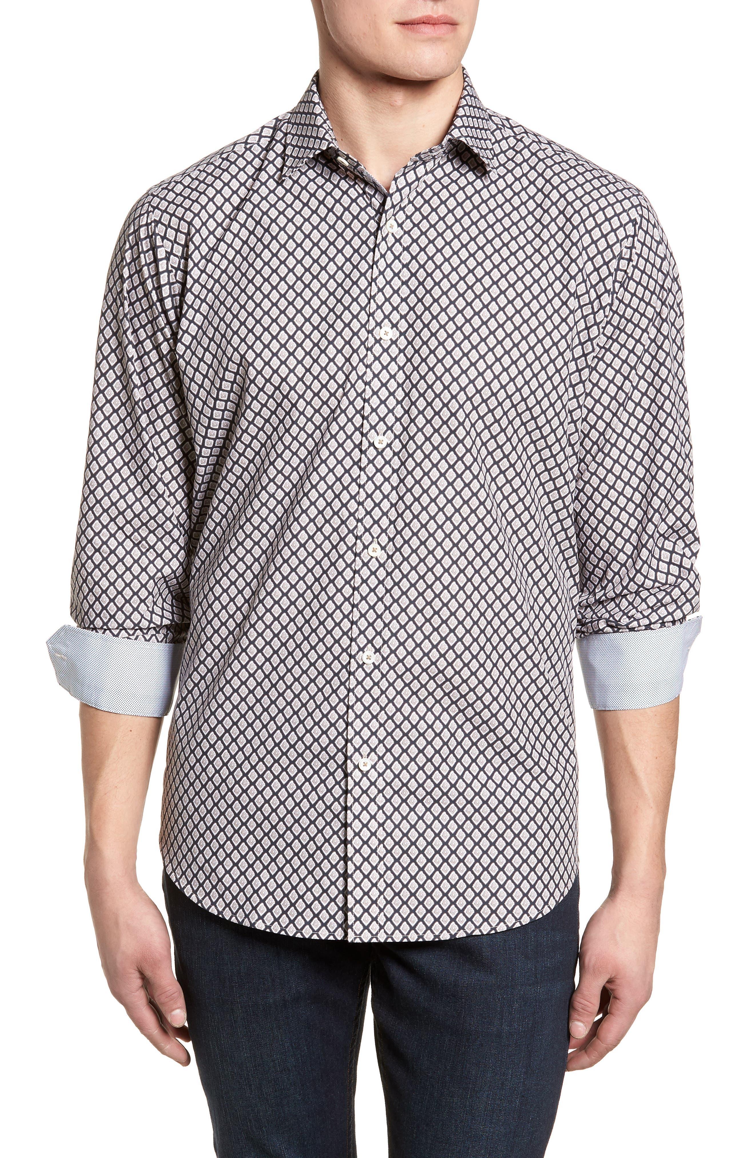 Classic Fit Woven Sport Shirt,                             Main thumbnail 1, color,                             Sand