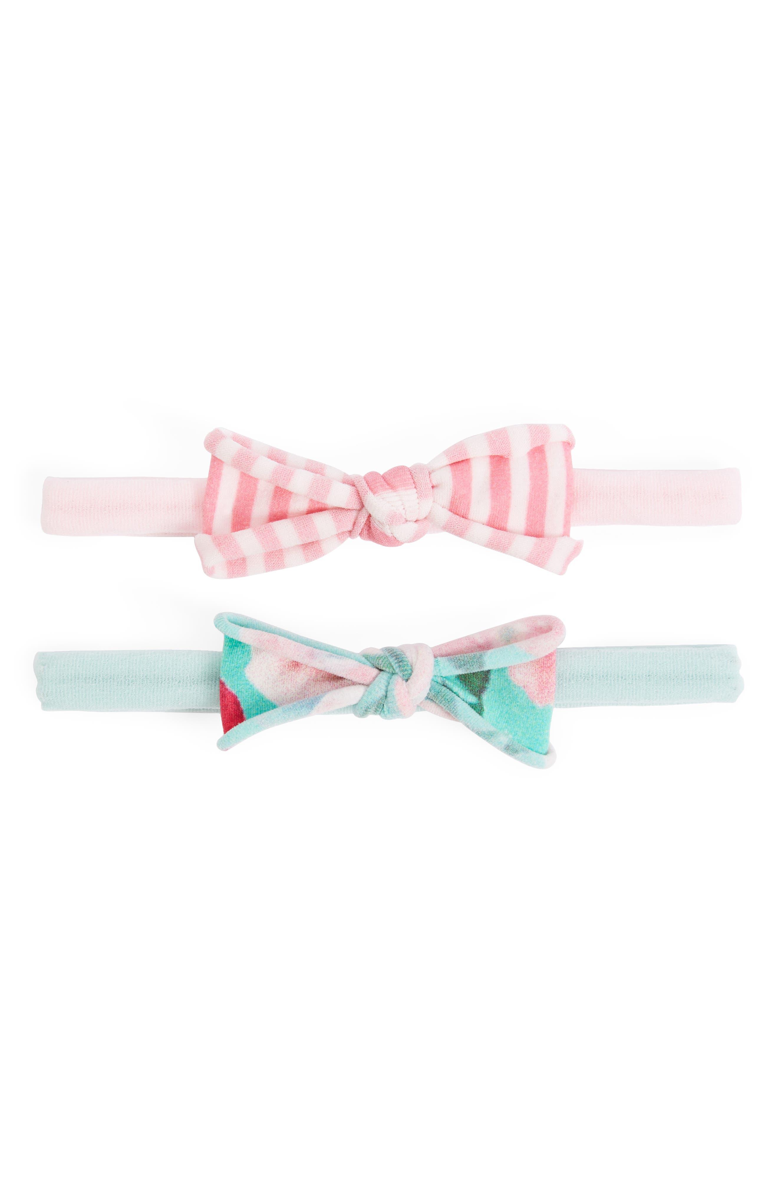 Set of 2 Bow Headbands,                         Main,                         color, Mint Floral/ Pink Stripe