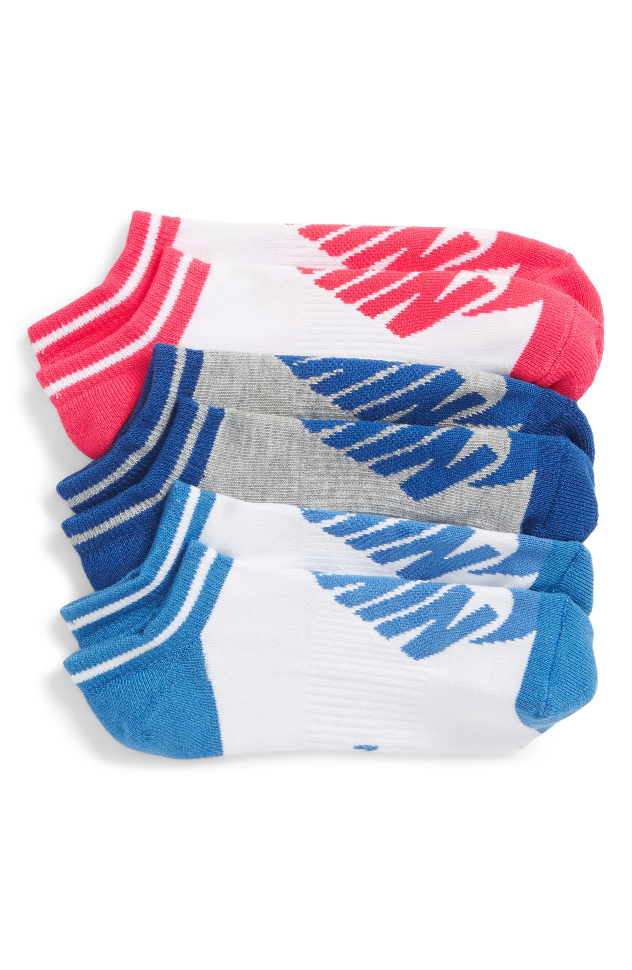 Stripe 3-Pack No-Show Socks,                         Main,                         color, Blue Multi