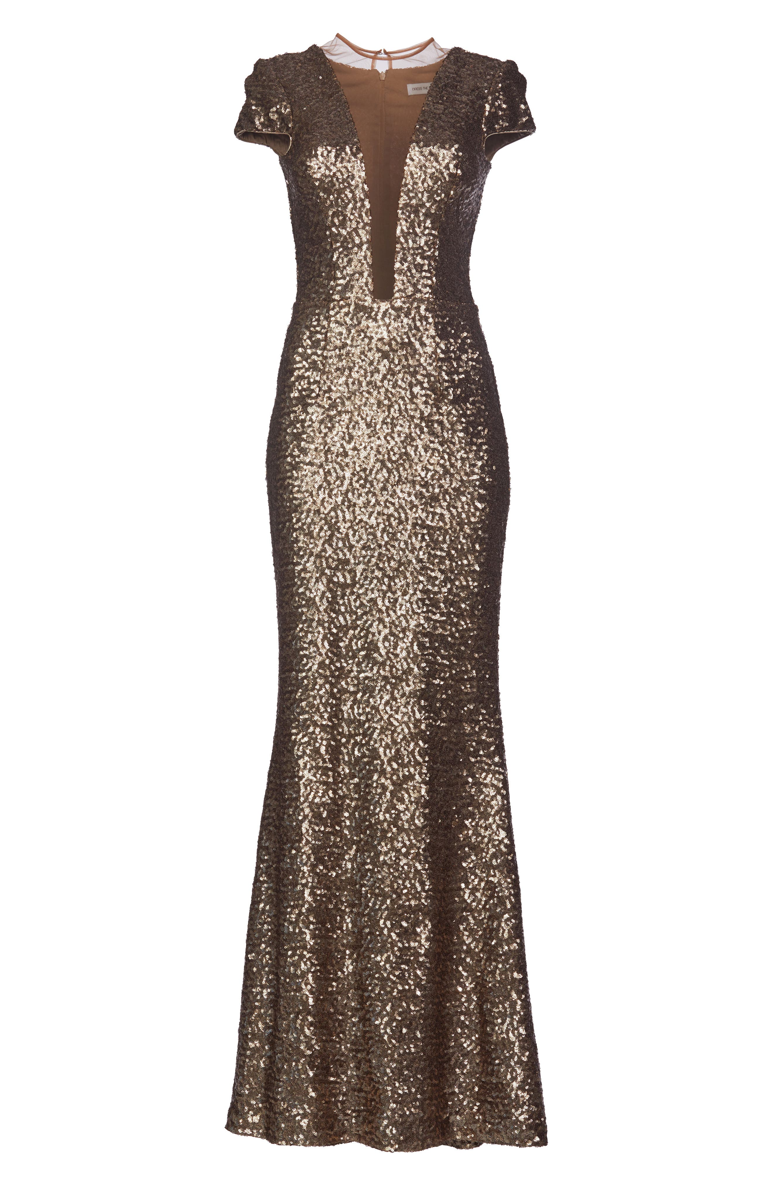 Michelle Sequin Gown,                             Alternate thumbnail 4, color,                             Brass