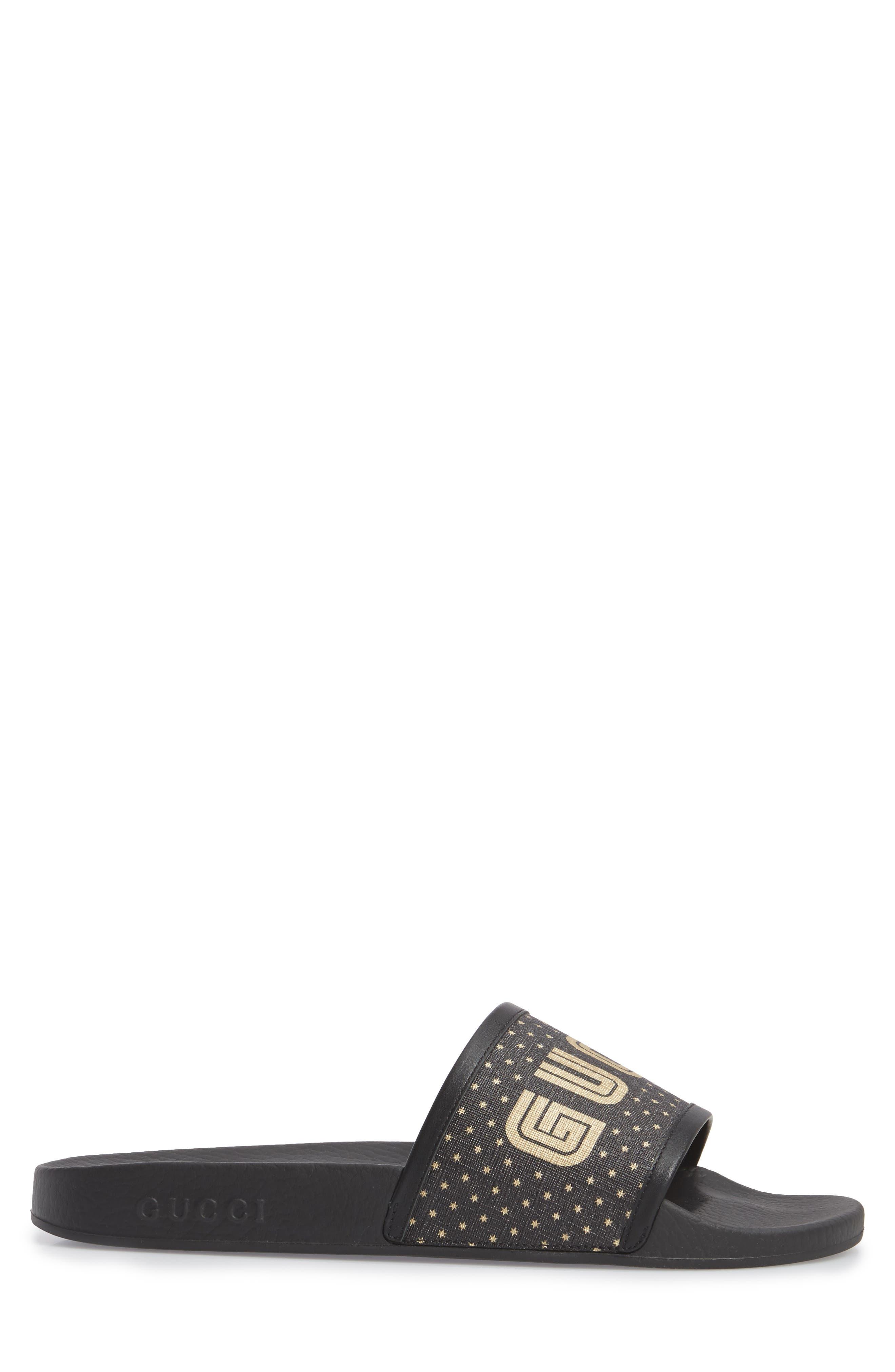 Pursuit Guccy Slide Sandal,                             Alternate thumbnail 3, color,                             Nero