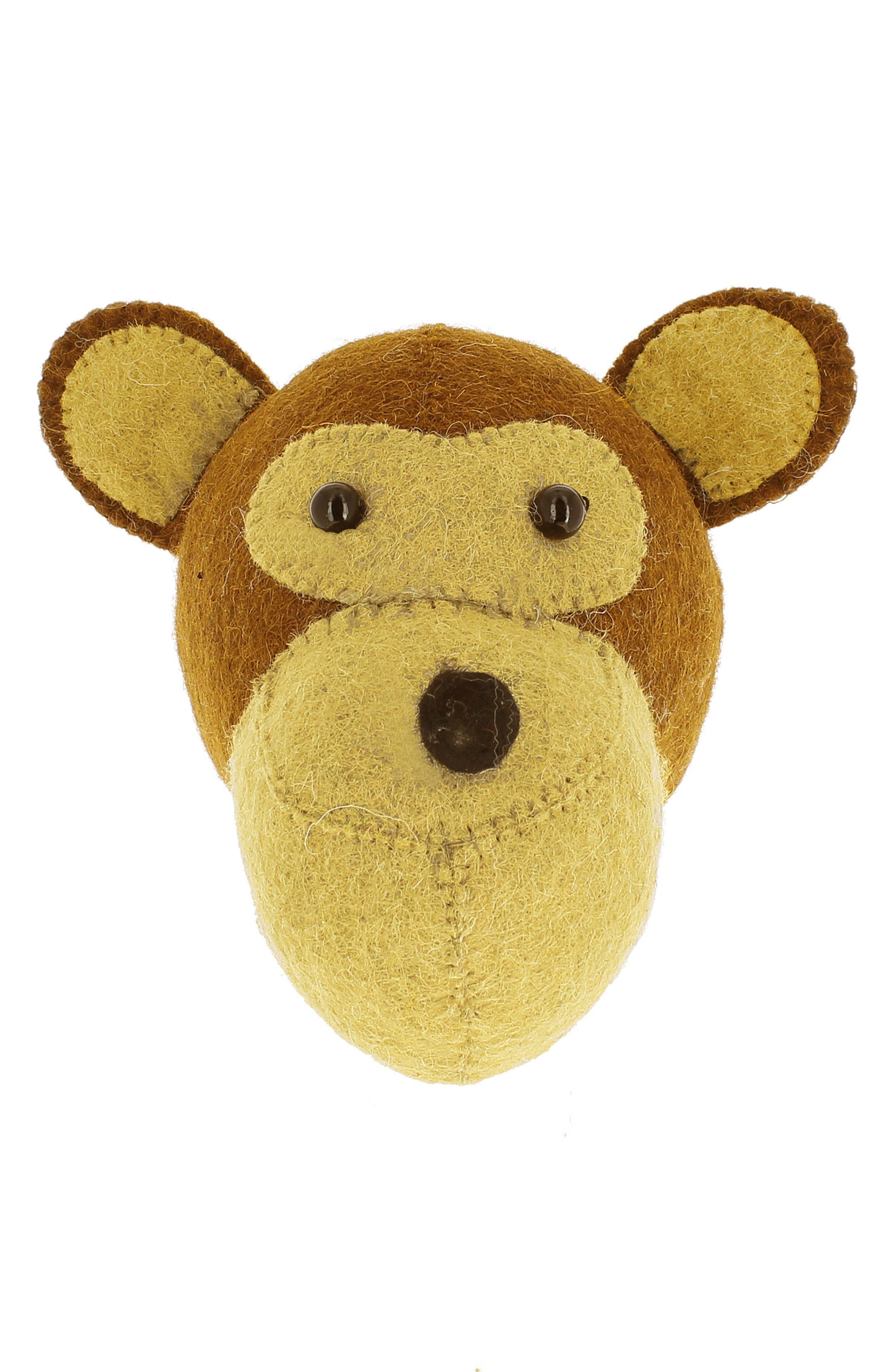 Mini Monkey Head Wall Art,                         Main,                         color, Brown