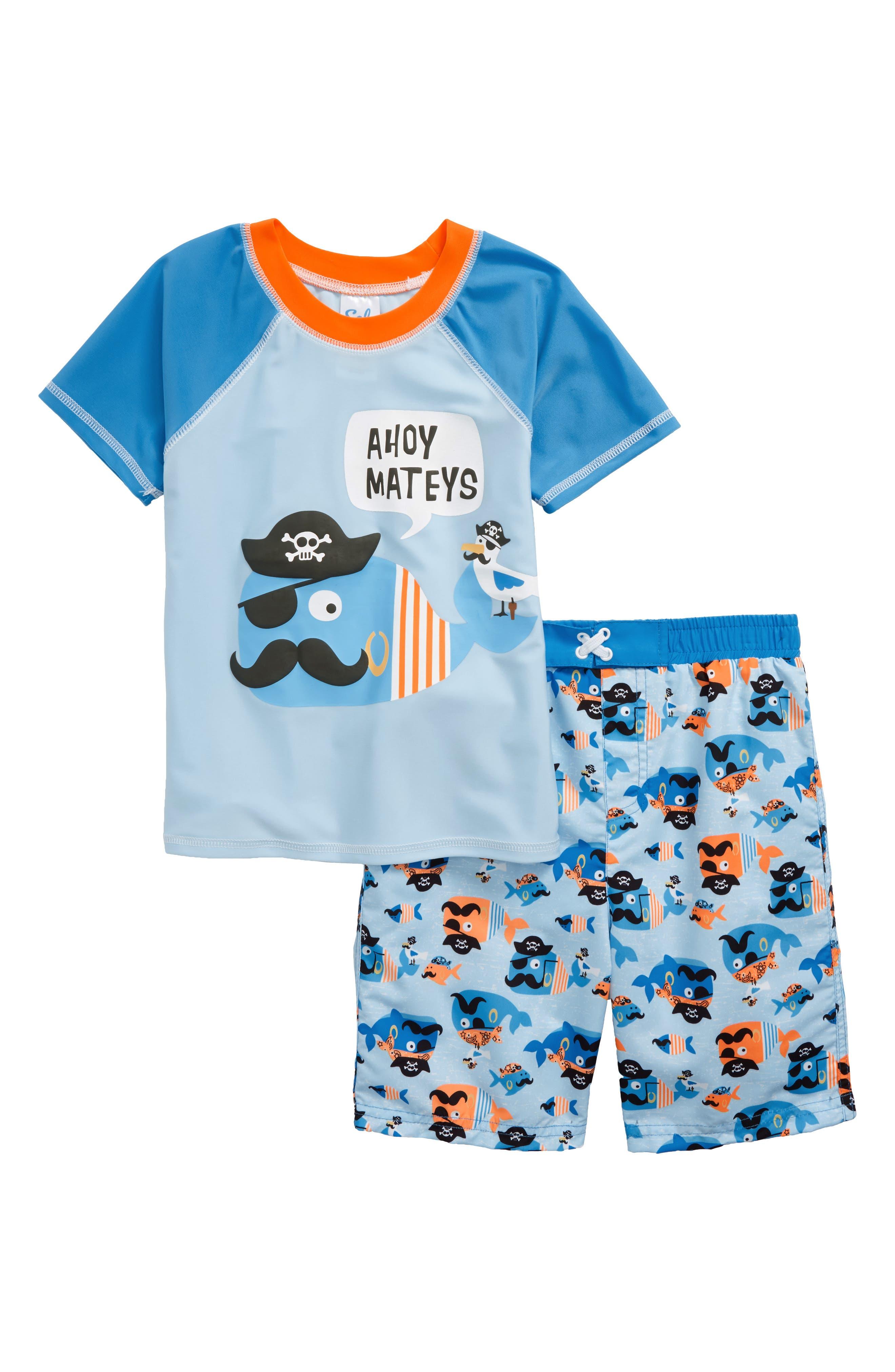 Main Image - Sol Swim Ahoy Mateys Two-Piece Rashguard Swimsuit (Toddler Boys & Little Boys)