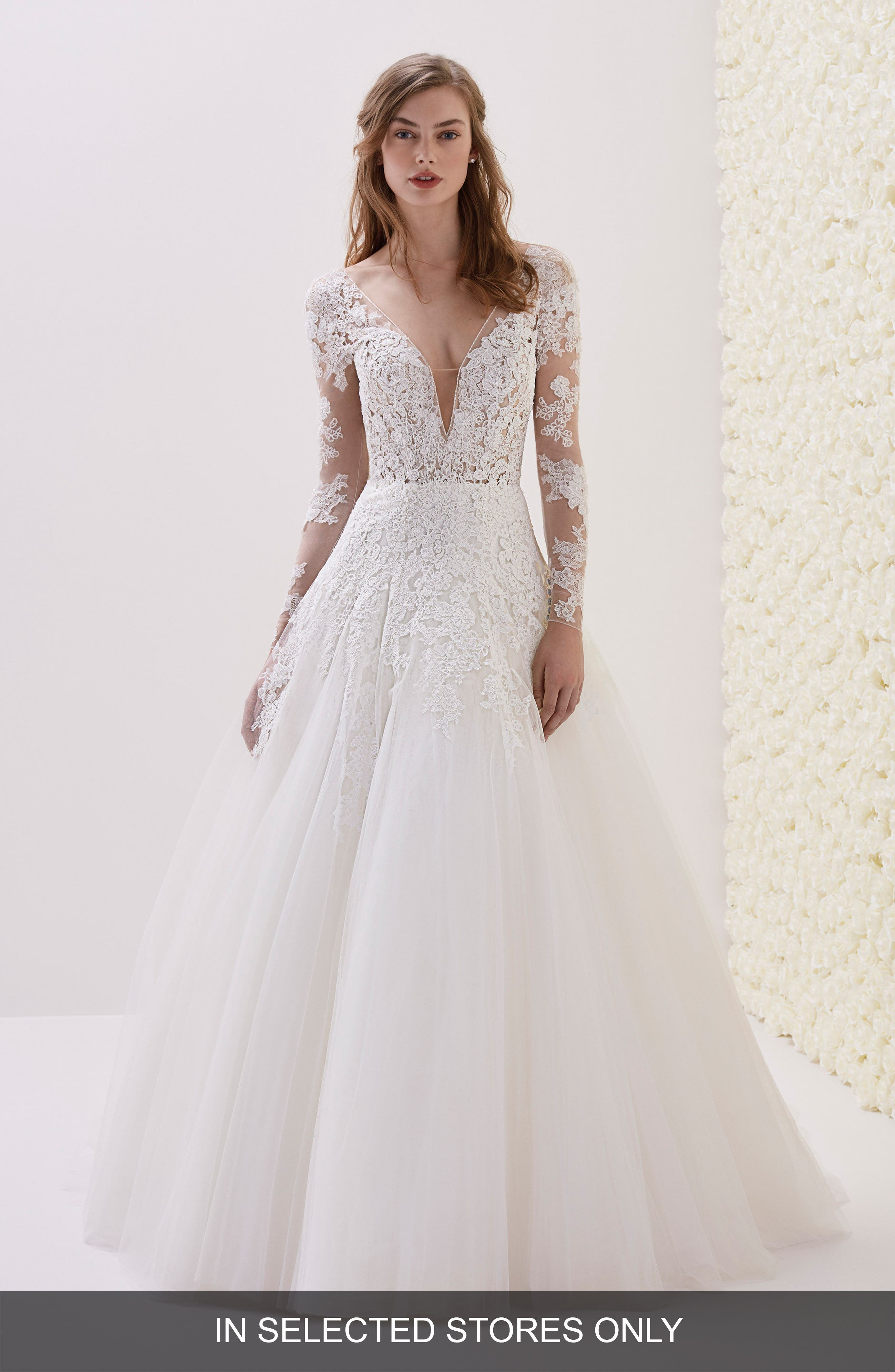 Elwe Lace Illusion Ballgown,                         Main,                         color, Off Wh/ Crst/ Nd