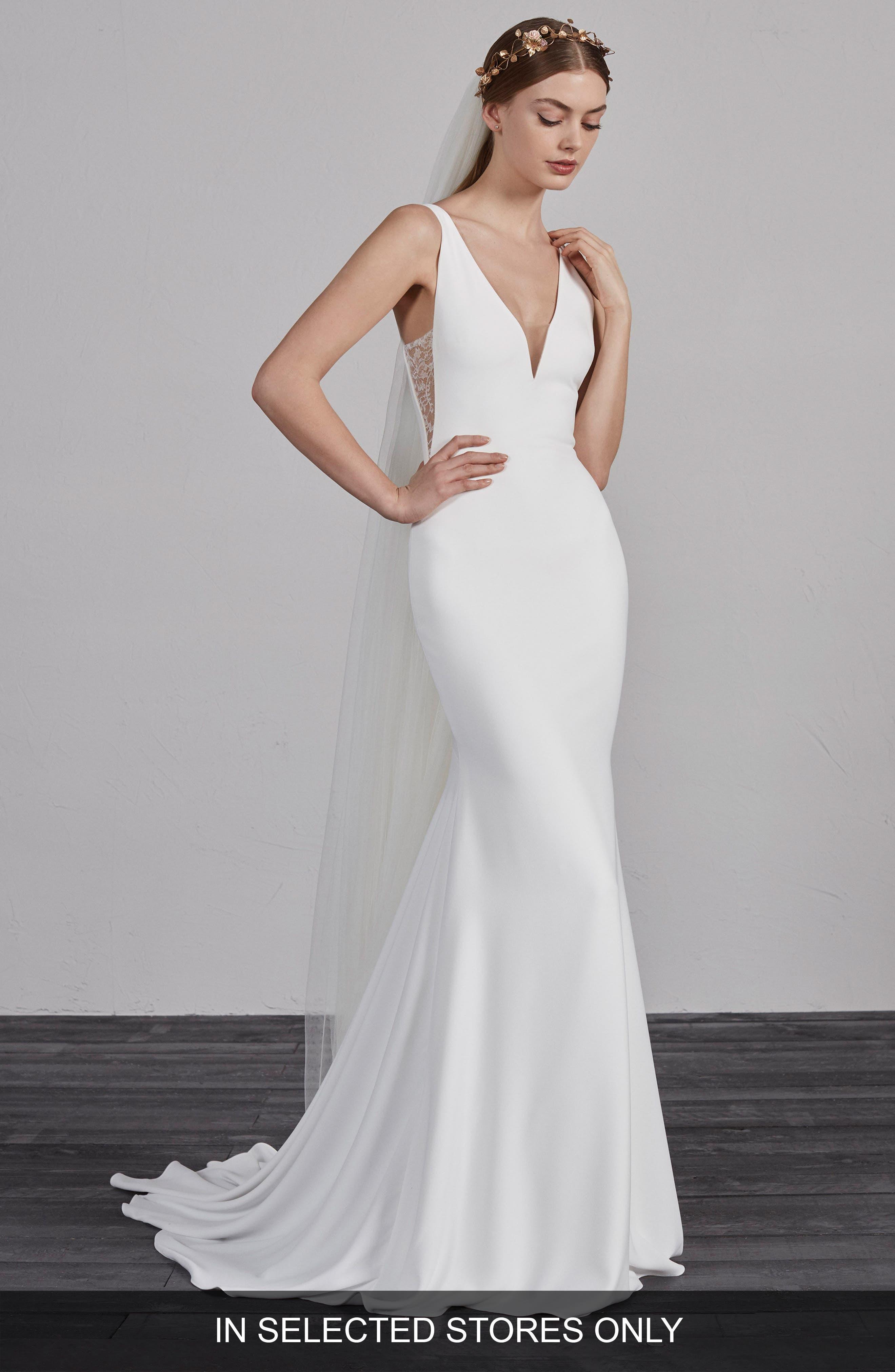 Estilo V-Neck Crepe Trumpet Gown,                         Main,                         color, Off White/ Crst