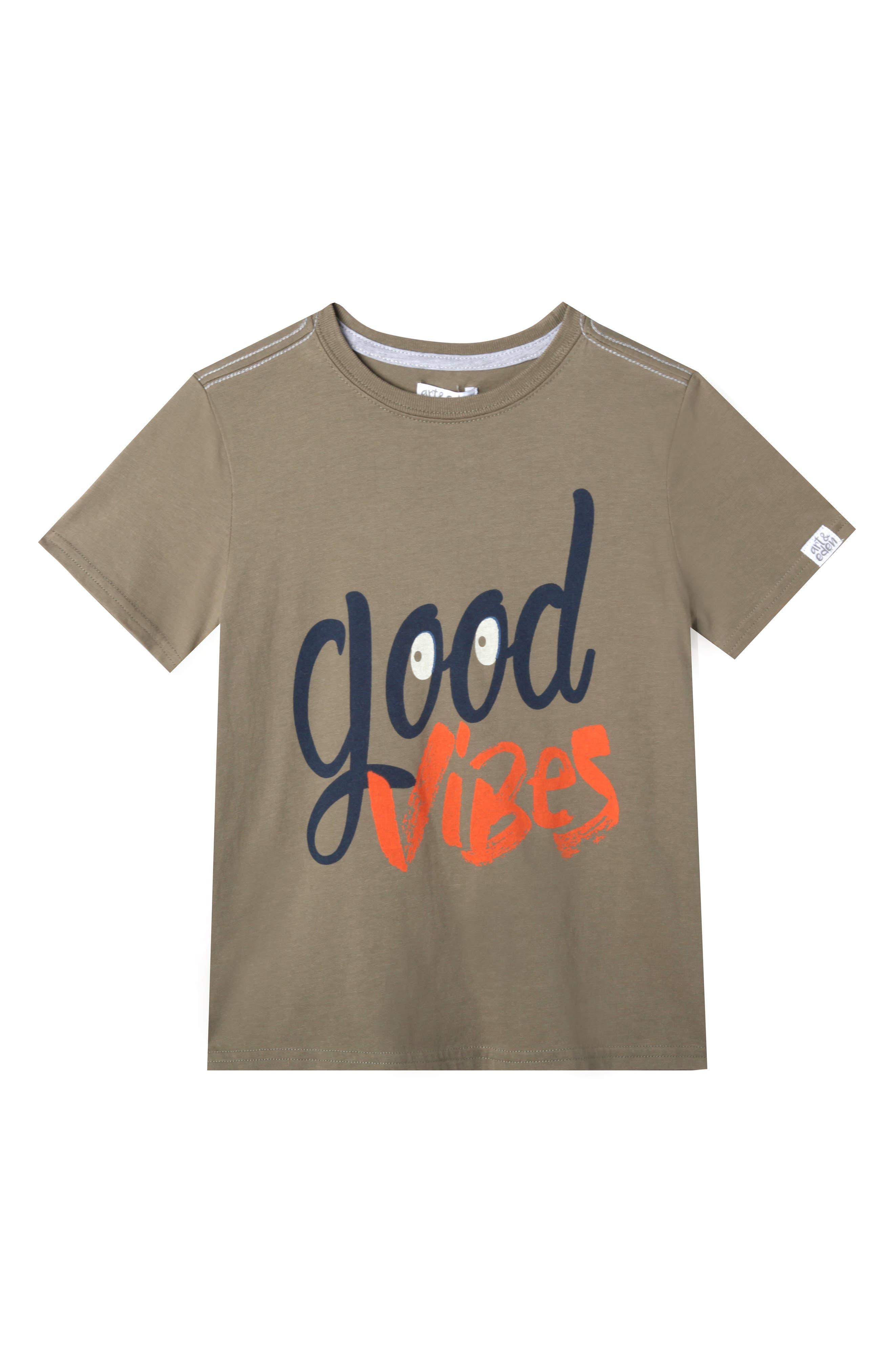 Art & Eden Jake Good Vibes Organic Cotton T-Shirt (Toddler Boys, Little Boys & Big Boys)
