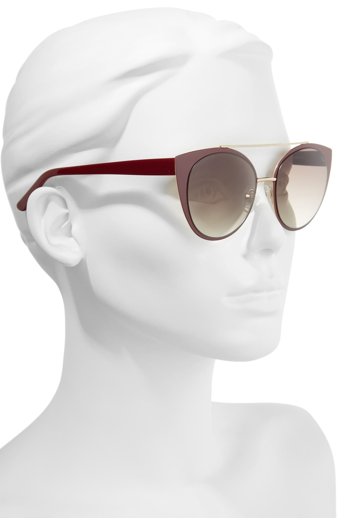 Amelia 53mm Aviator Sunglasses,                             Alternate thumbnail 2, color,                             Burgundy