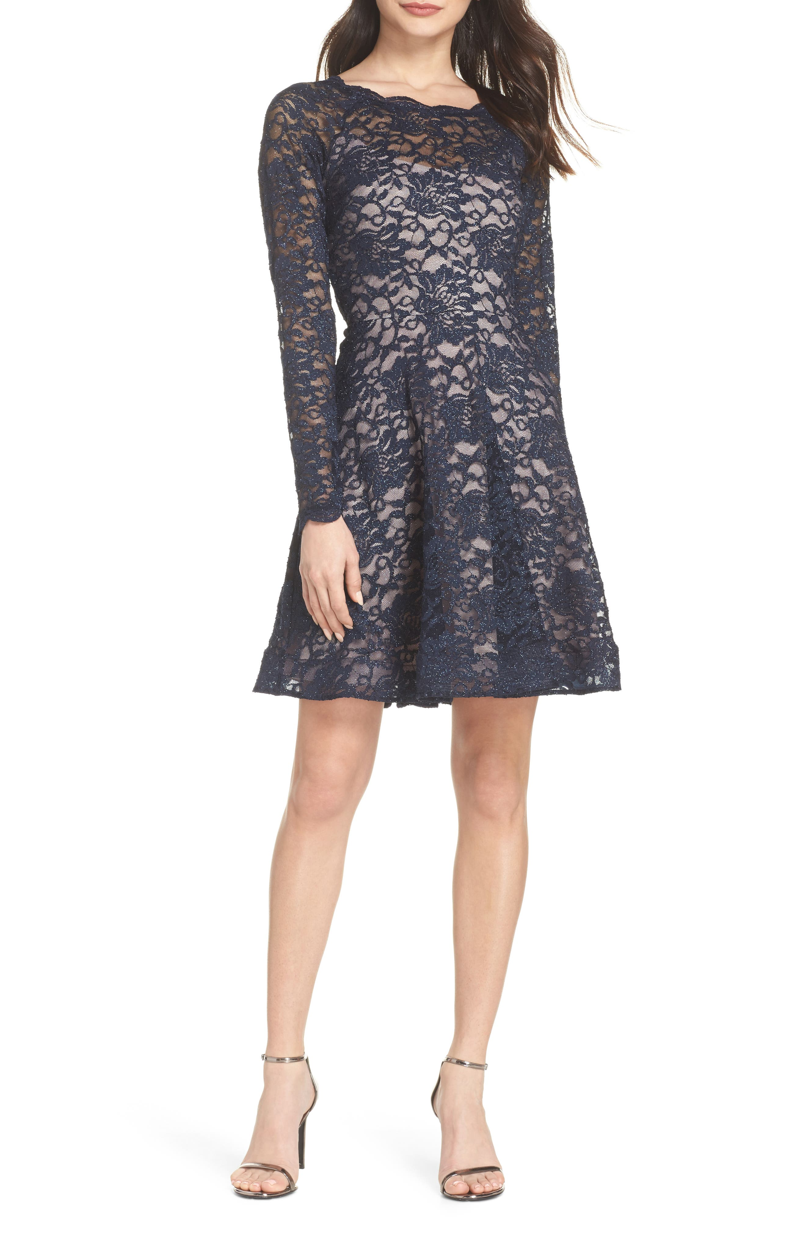 Glitter Lace Fit & Flare Dress,                             Main thumbnail 1, color,                             Navy/ Mauve