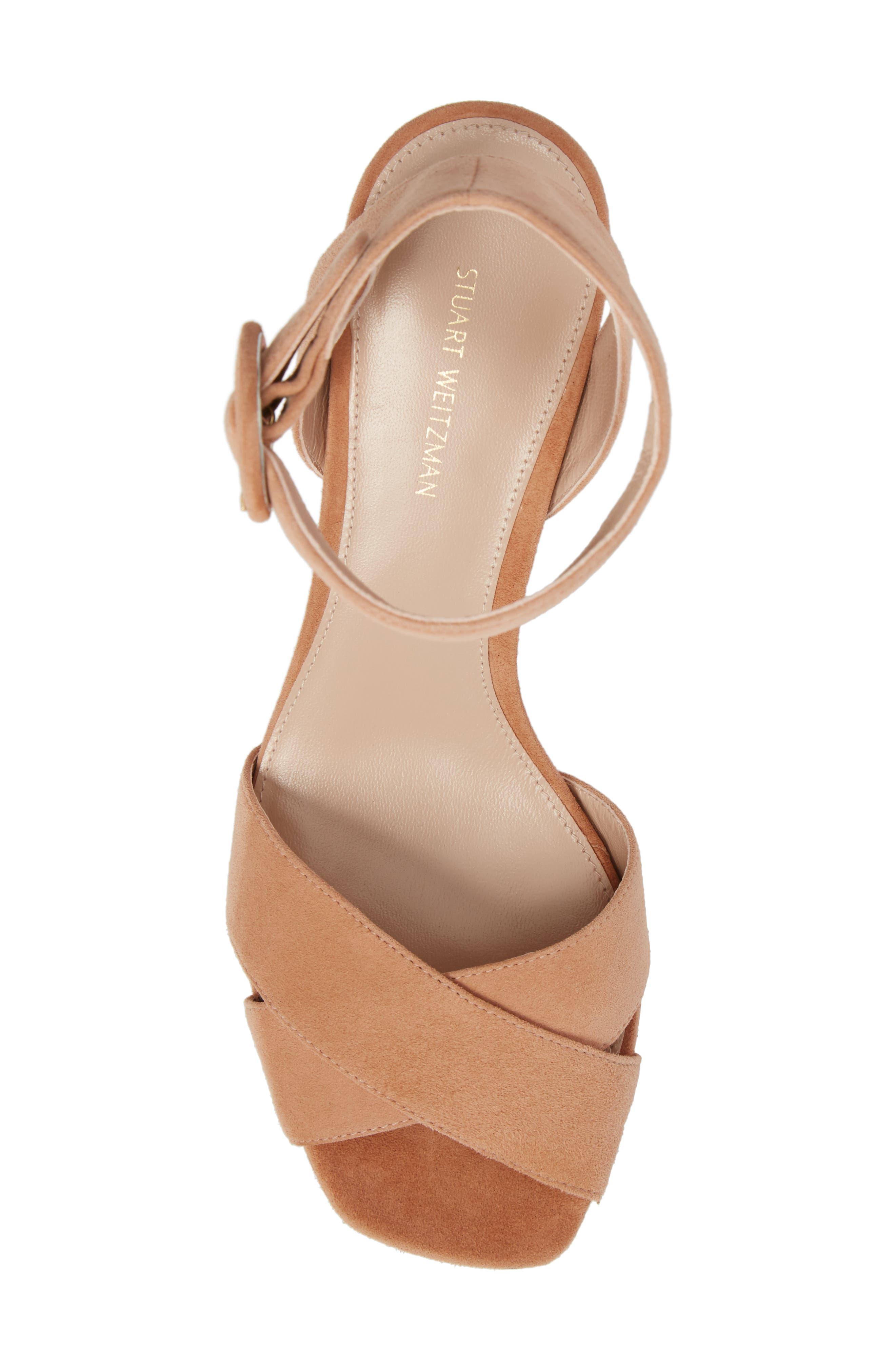 Carmina Ankle Strap Platform Sandal,                             Alternate thumbnail 5, color,                             Naked Seda Suede