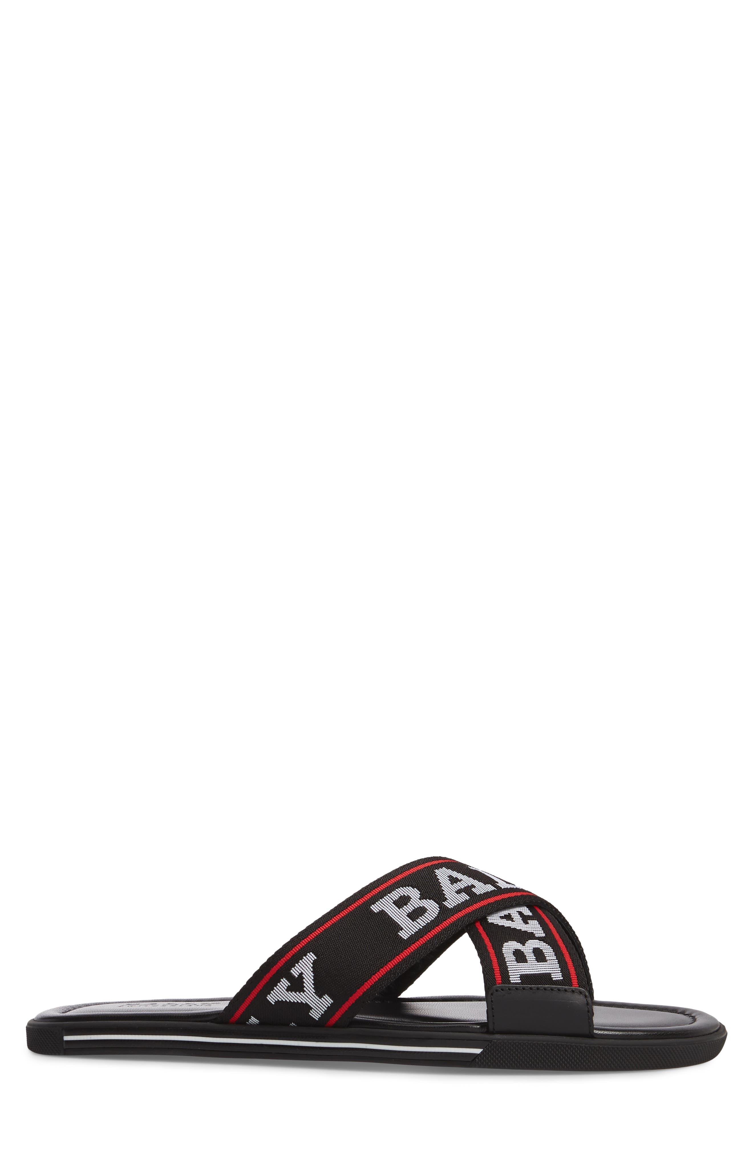 Bonks Logo Slide Sandal,                             Alternate thumbnail 3, color,                             Black/ Bone/ Red