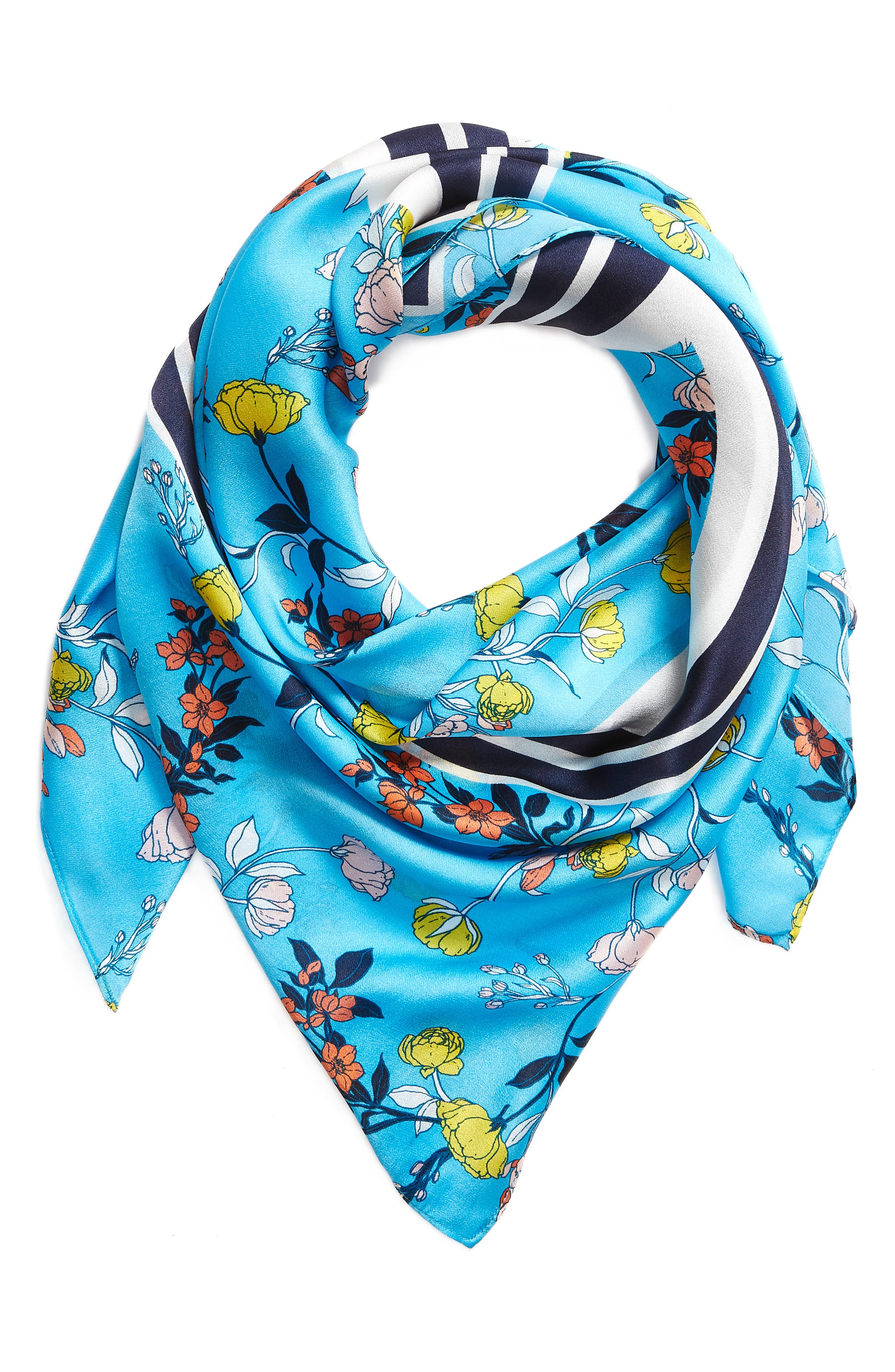 Print Silk Scarf,                             Alternate thumbnail 2, color,                             Blue Graphic Floral Mix