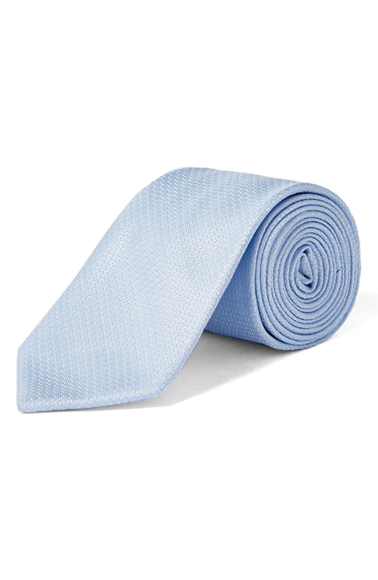 Textured Woven Tie,                             Main thumbnail 1, color,                             Light Blue
