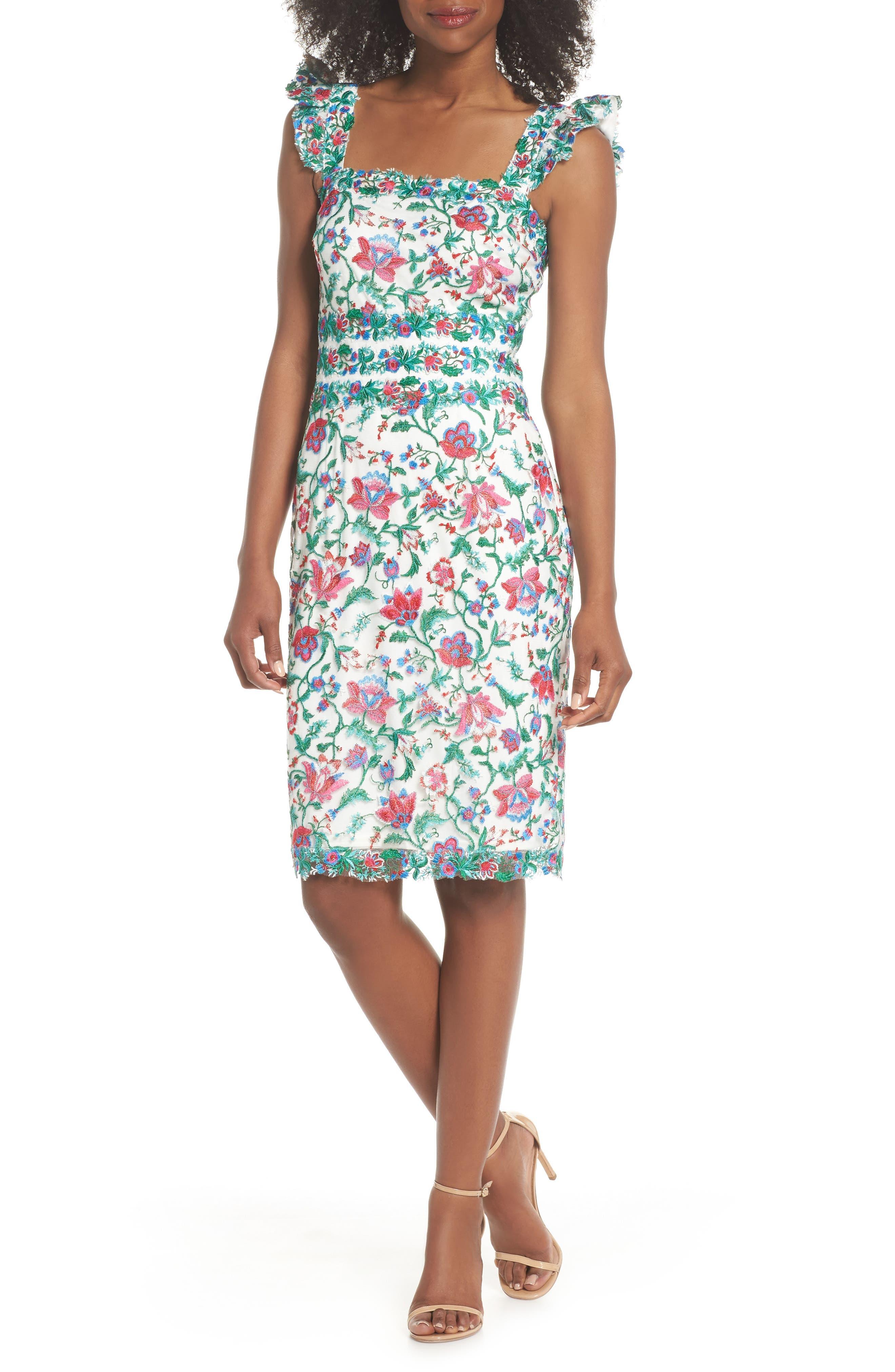 Ximena Embroidered Sheath Dress,                             Main thumbnail 1, color,                             White/ Dahlia