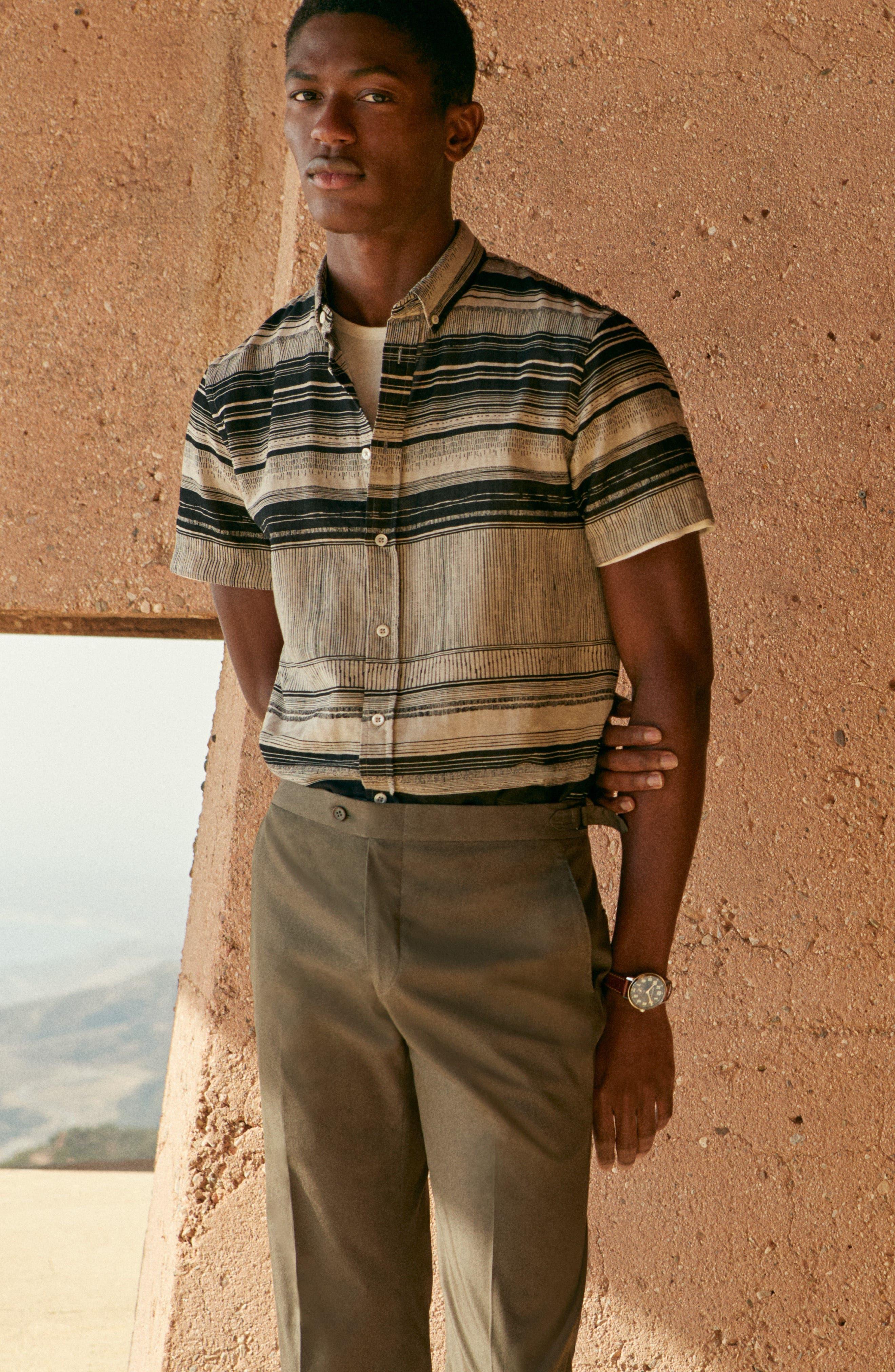 Murphy Stripe Short Sleeve Sport Shirt,                             Alternate thumbnail 7, color,