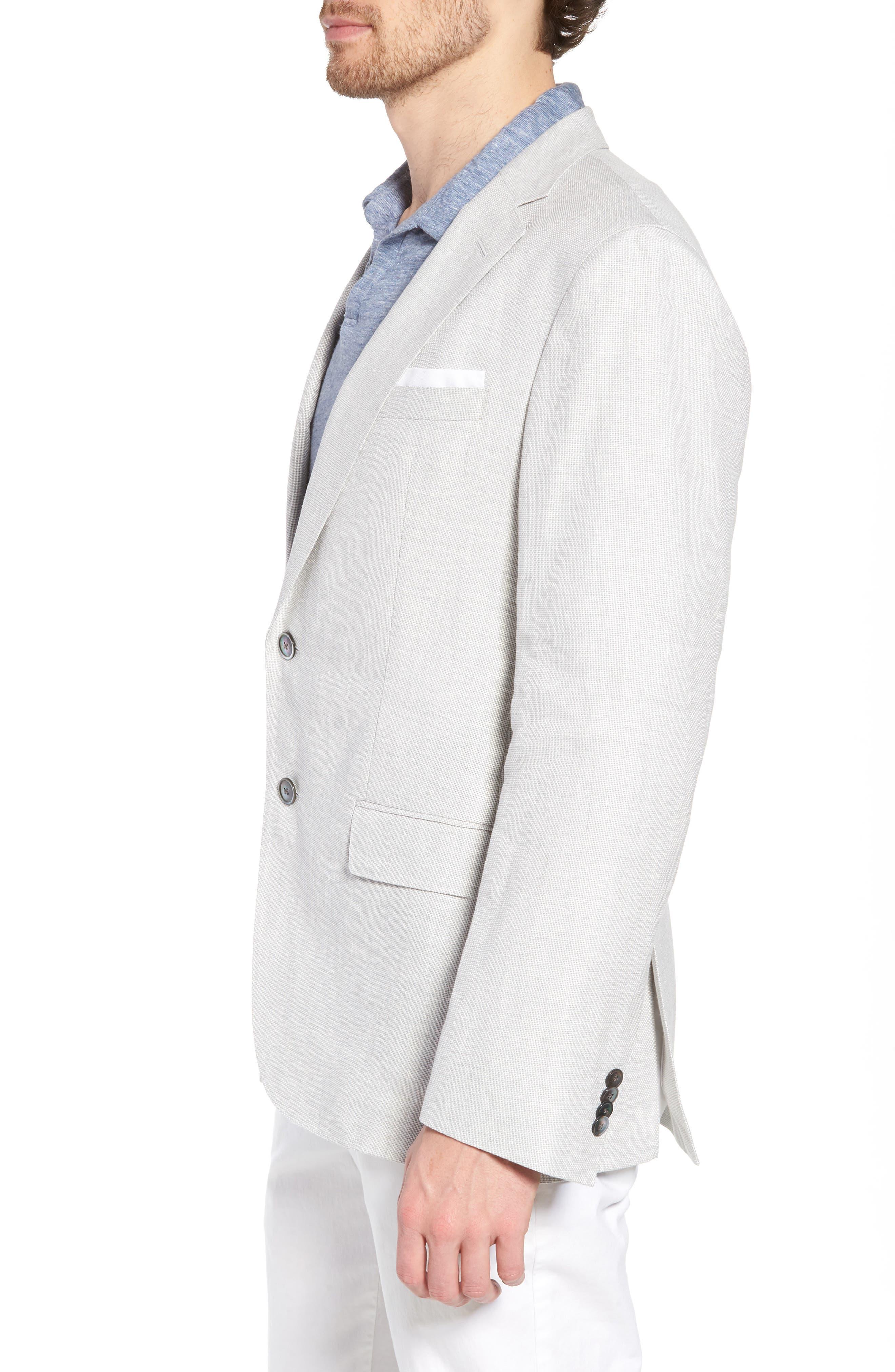 Hartlay Trim Fit Linen Blend Blazer,                             Alternate thumbnail 3, color,                             Silver Grey