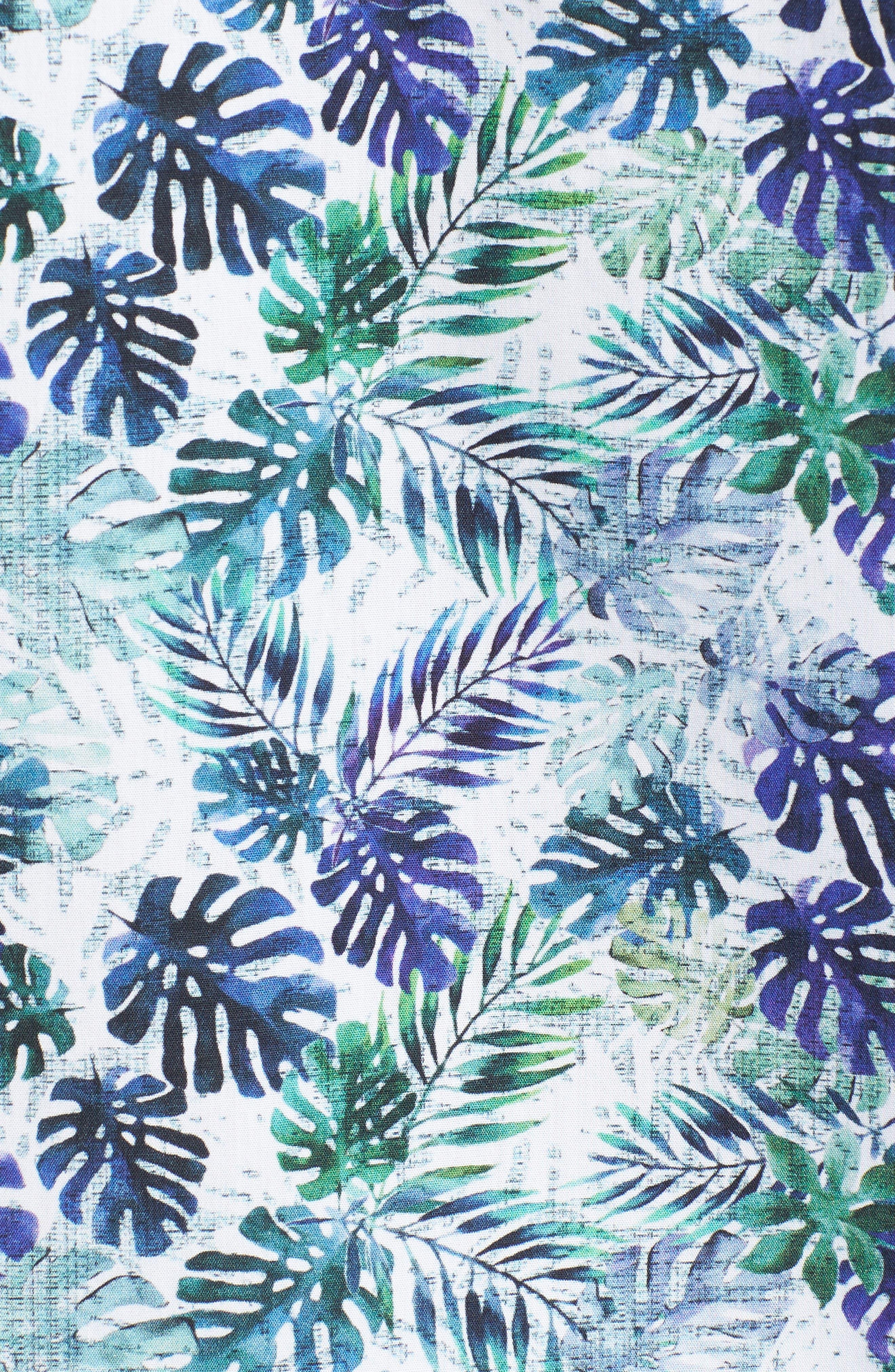 Shaped Fit Blue Leaves Sport Shirt,                             Alternate thumbnail 5, color,                             Amethyst
