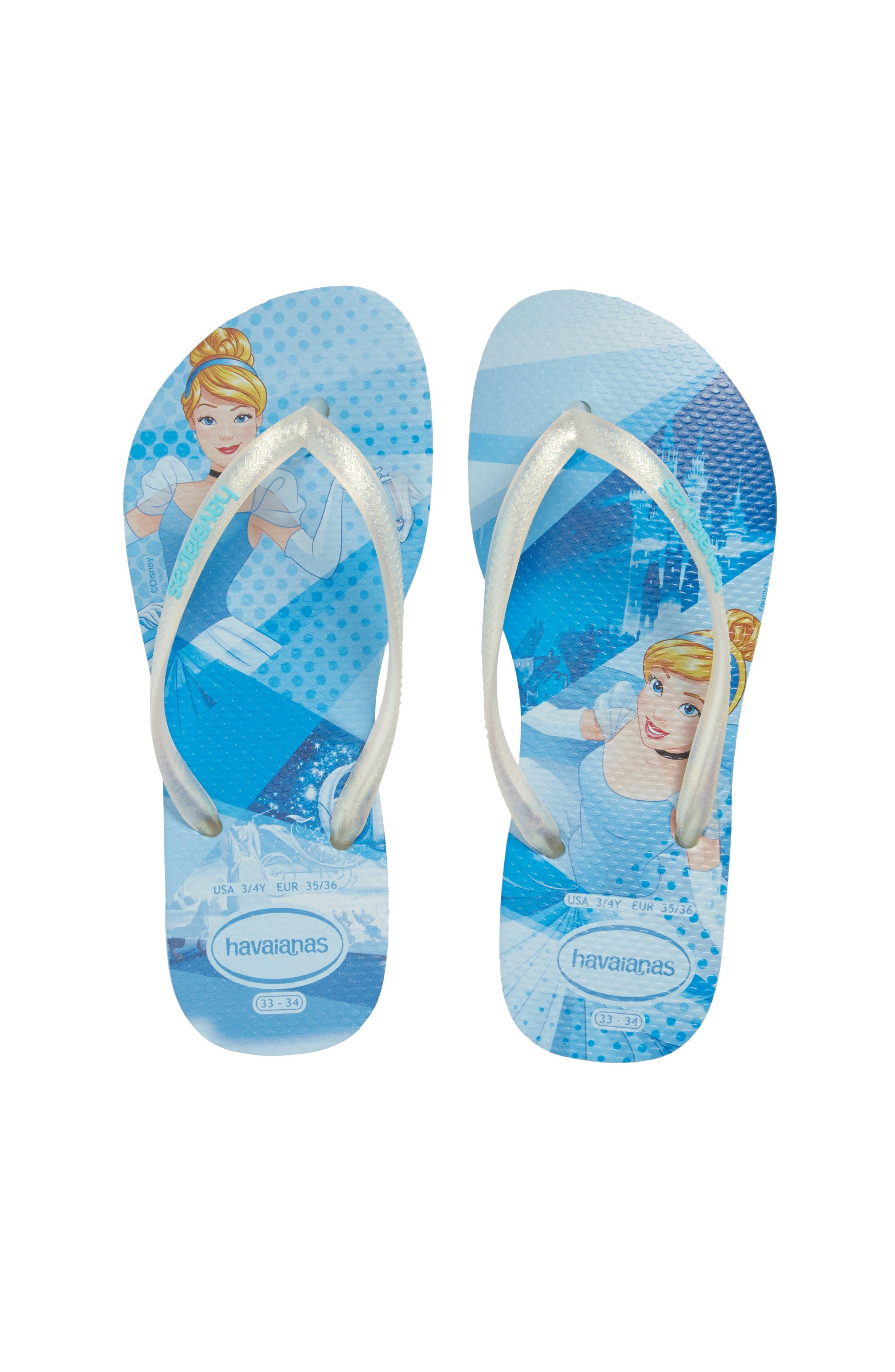 'Disney Princess' Flip Flops,                             Main thumbnail 1, color,                             Blue Splash