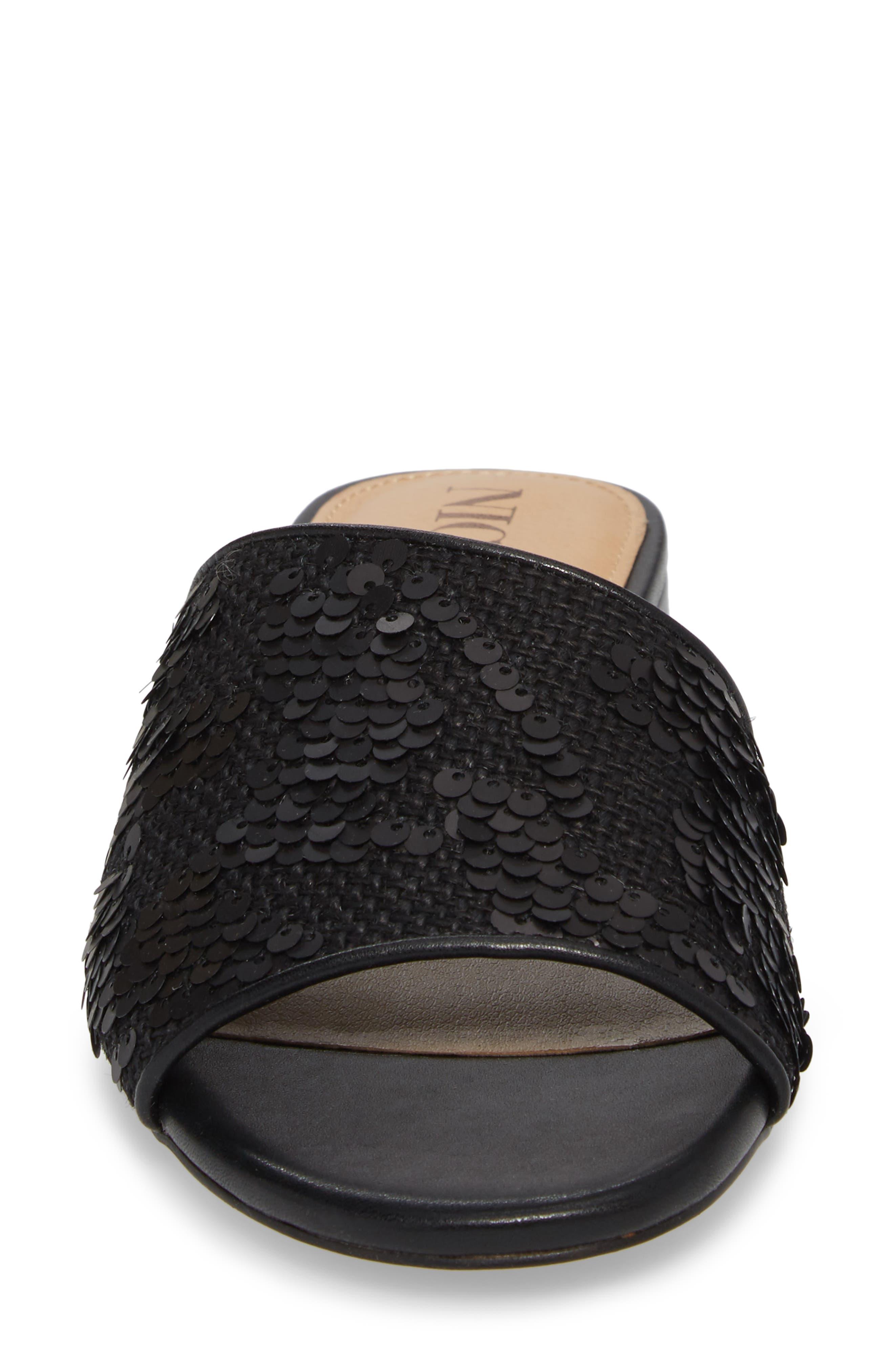 Stella Slide Sandal,                             Alternate thumbnail 4, color,                             Black Sequin Fabric