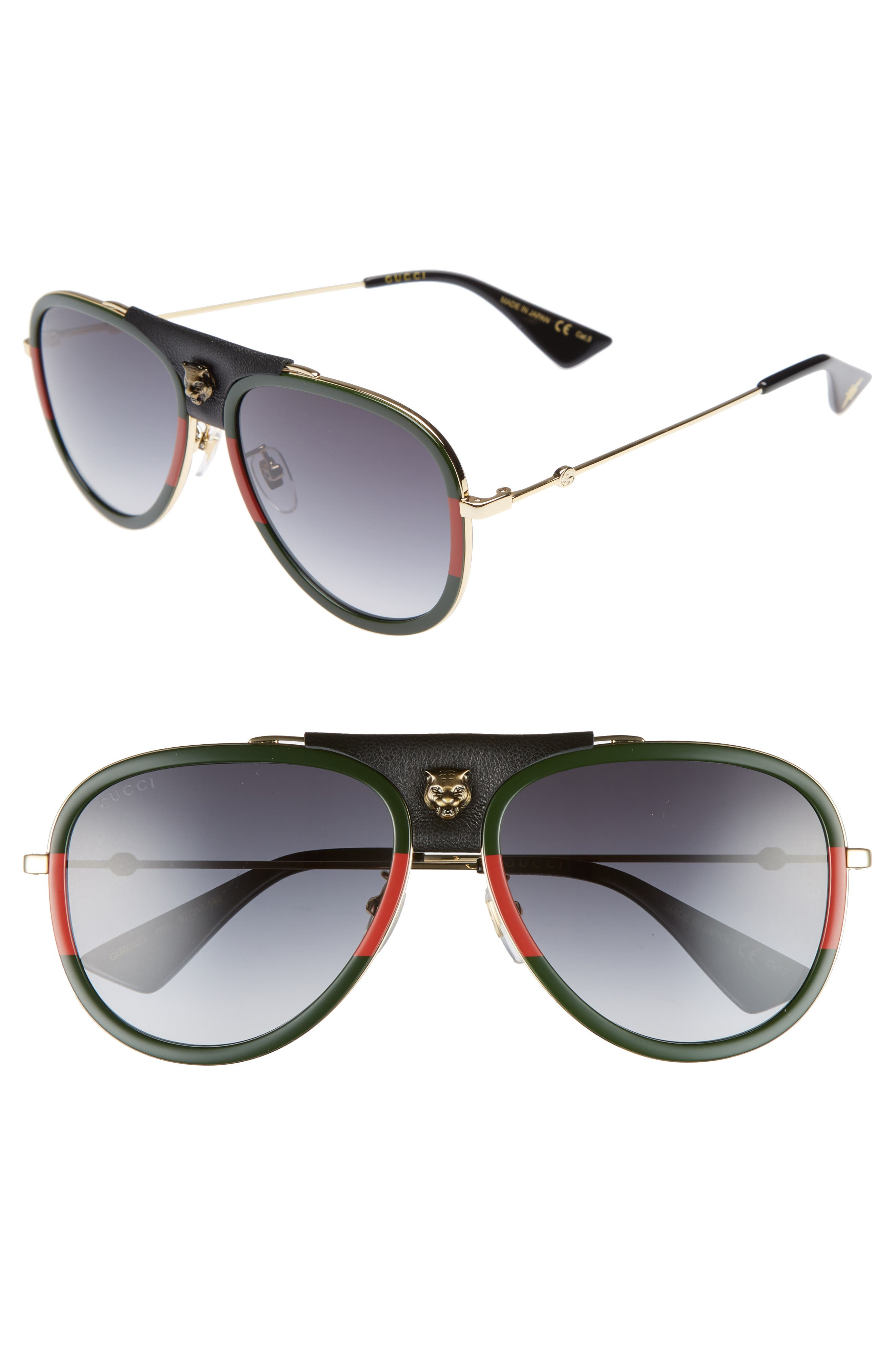 57mm Metal Aviator Sunglasses,                             Main thumbnail 1, color,                             Gold