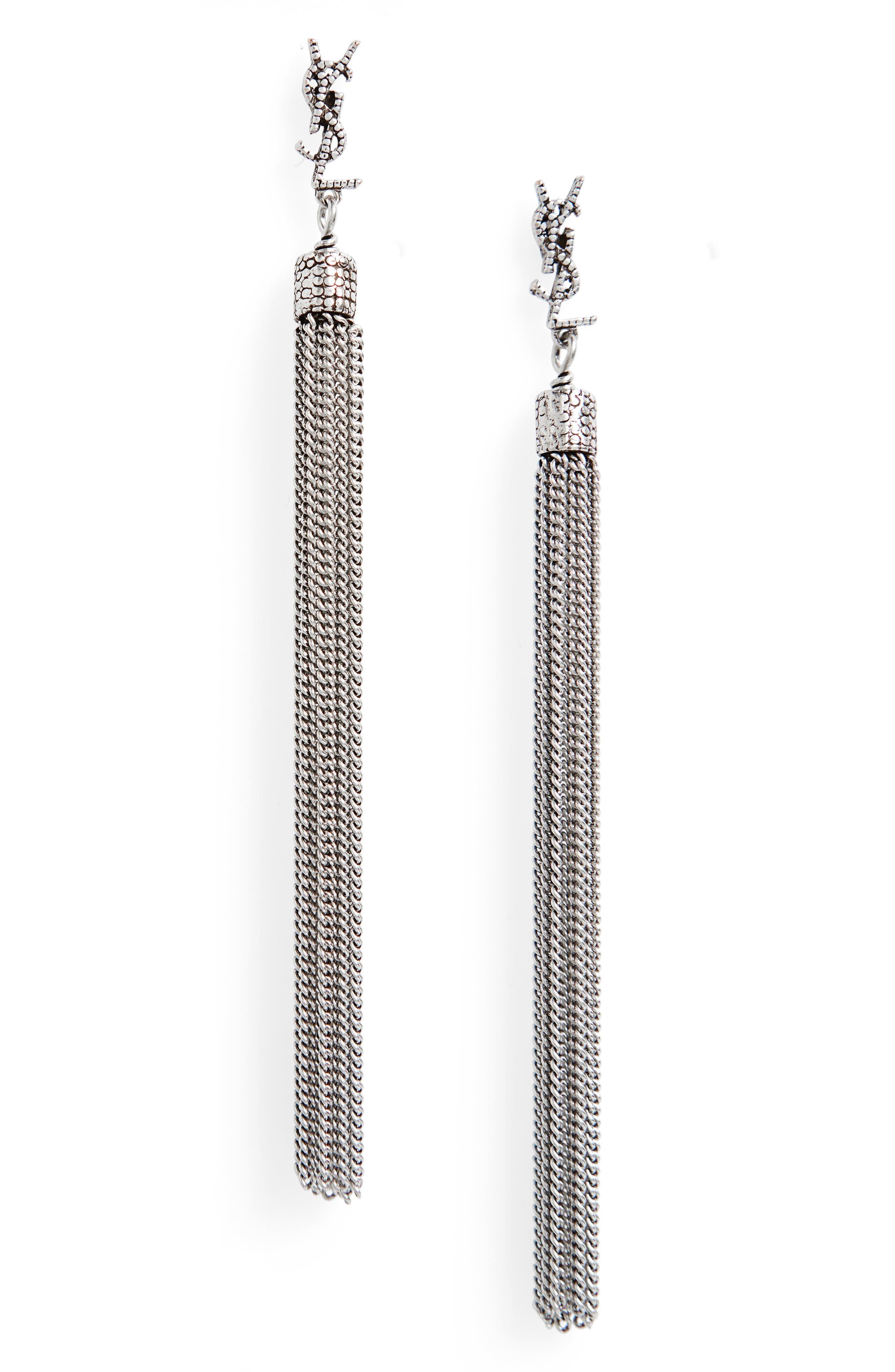 Saint Laurent Lou Lou Linear Drop Earrings