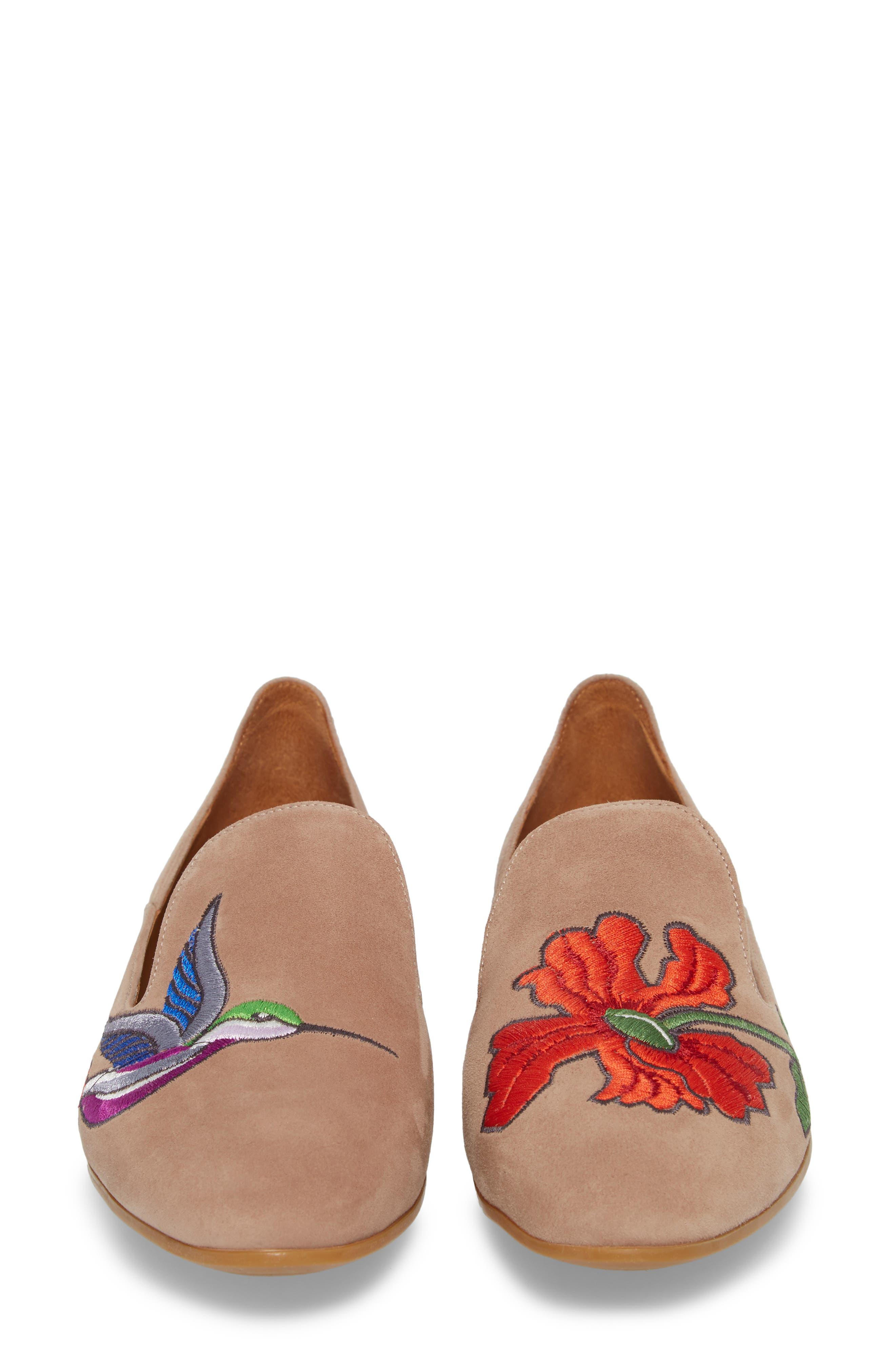 Emmaline Embroidered Loafer,                             Alternate thumbnail 5, color,                             Nude