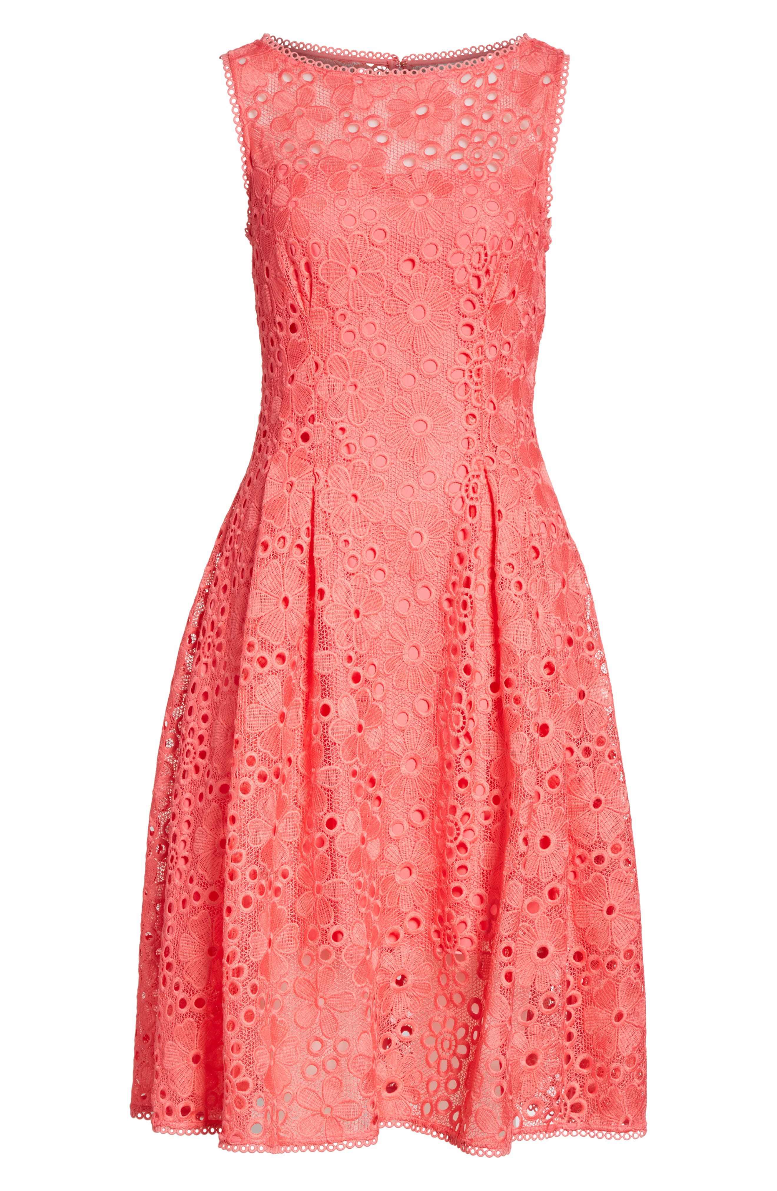 lace fit & flare dress,                             Alternate thumbnail 6, color,                             Peach Sherbet