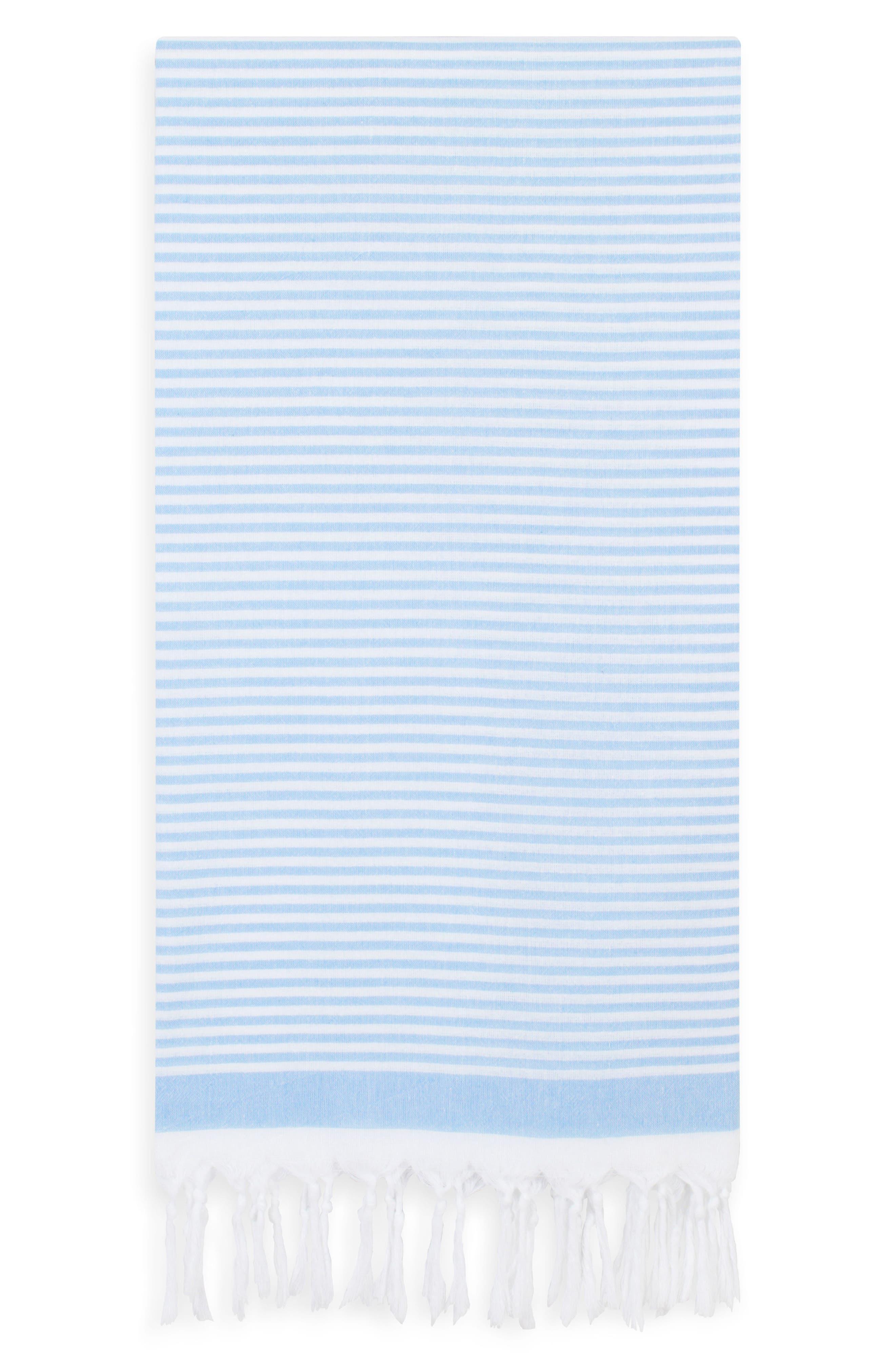 Soft Stripes Turkish Pestemal Towel,                         Main,                         color, Sky Blue