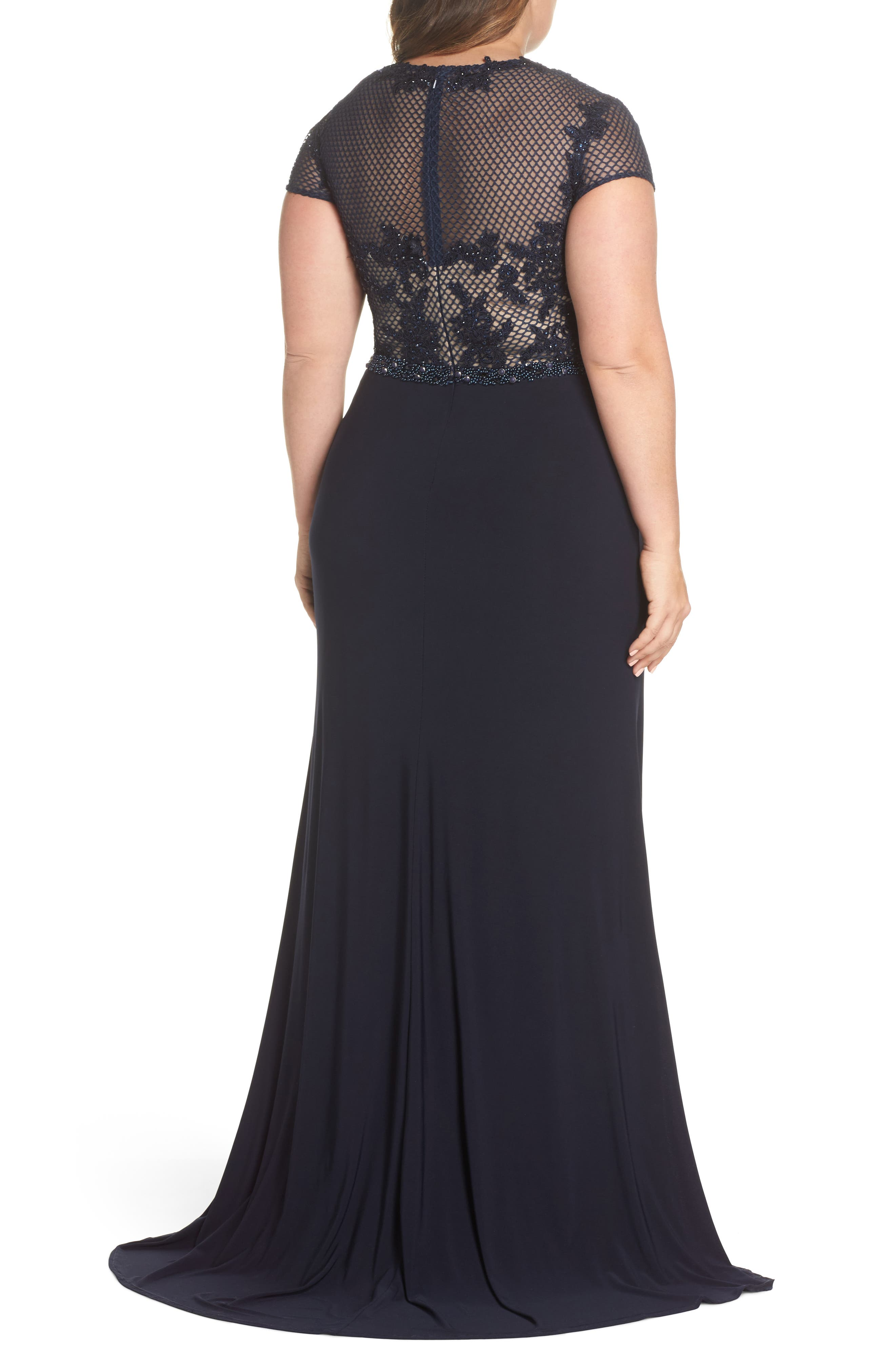 Embellished Crochet & Jersey Gown,                             Alternate thumbnail 2, color,                             Navy
