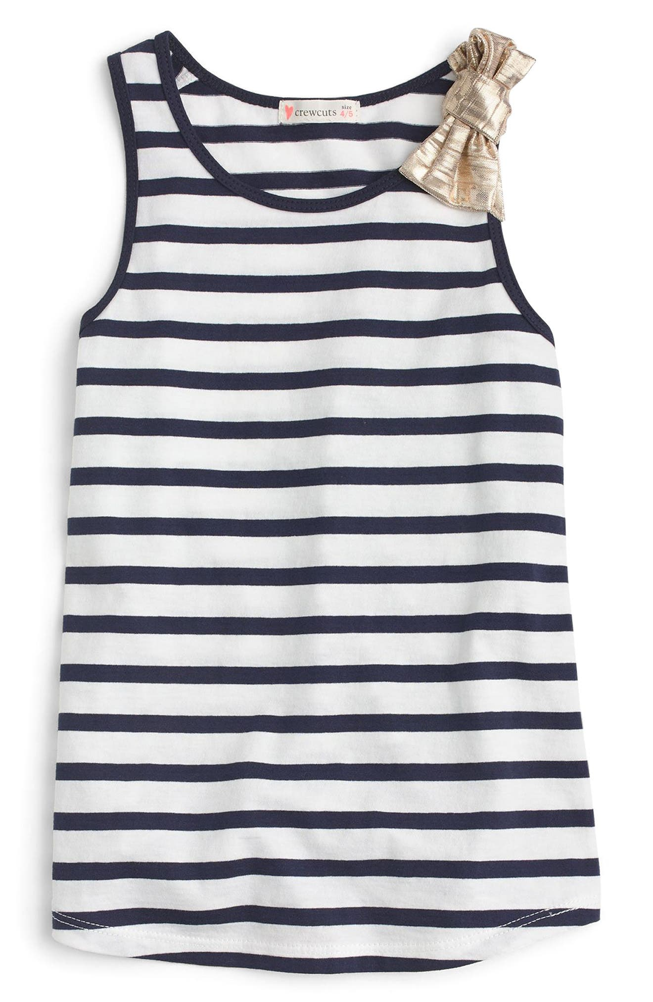crewcuts by J.Crew Stripe Bow Tank Top (Toddler Girls, Little Girls & Big Girls)