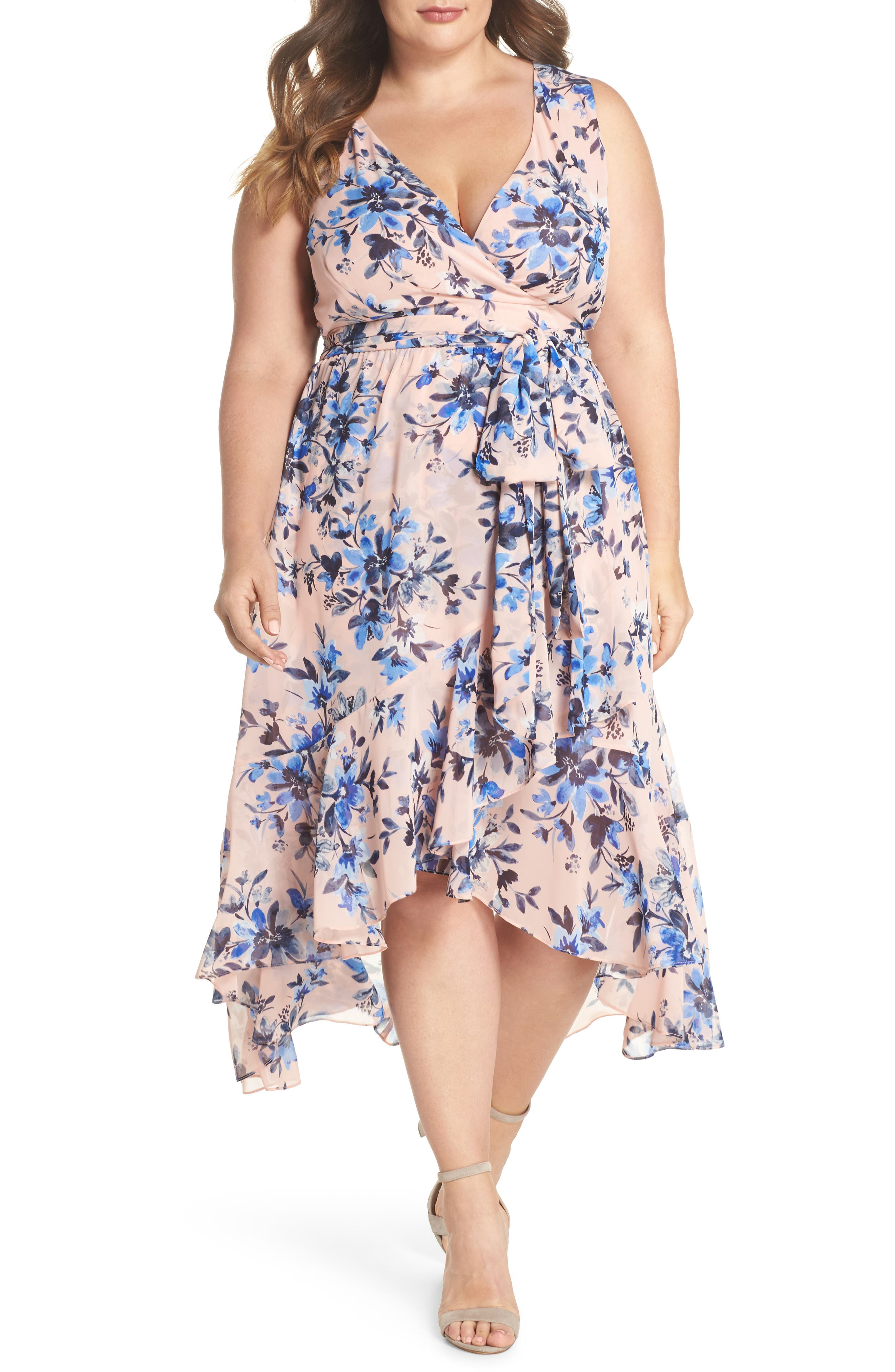 Eliza J Floral Chiffon High/Low Dress (Plus Size)