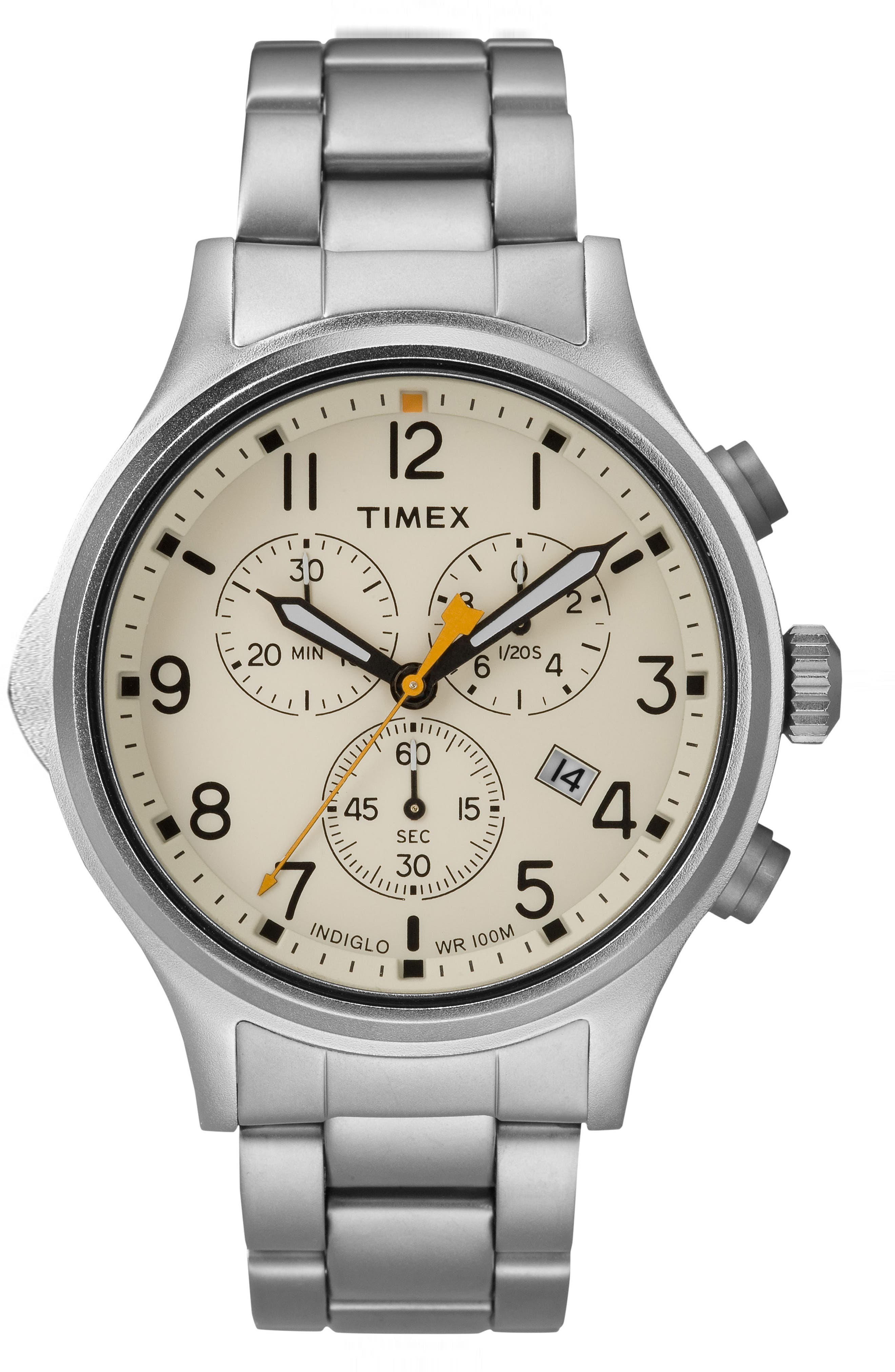Allied Chronograph Bracelet Watch, 42mm,                         Main,                         color, Silver/ Natural/ Silver