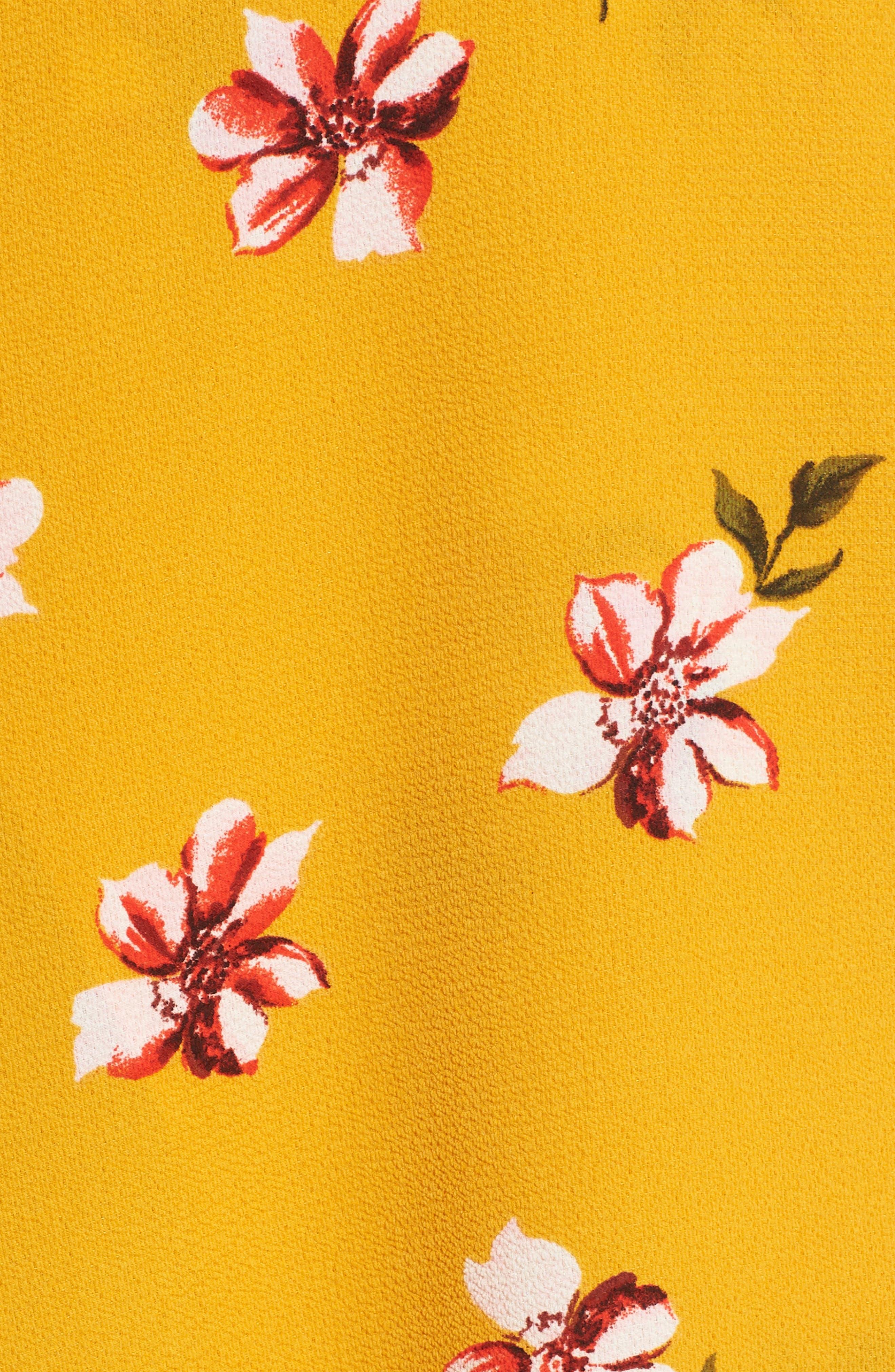 Floral Surplice Skirt,                             Alternate thumbnail 6, color,                             Mustard Floral