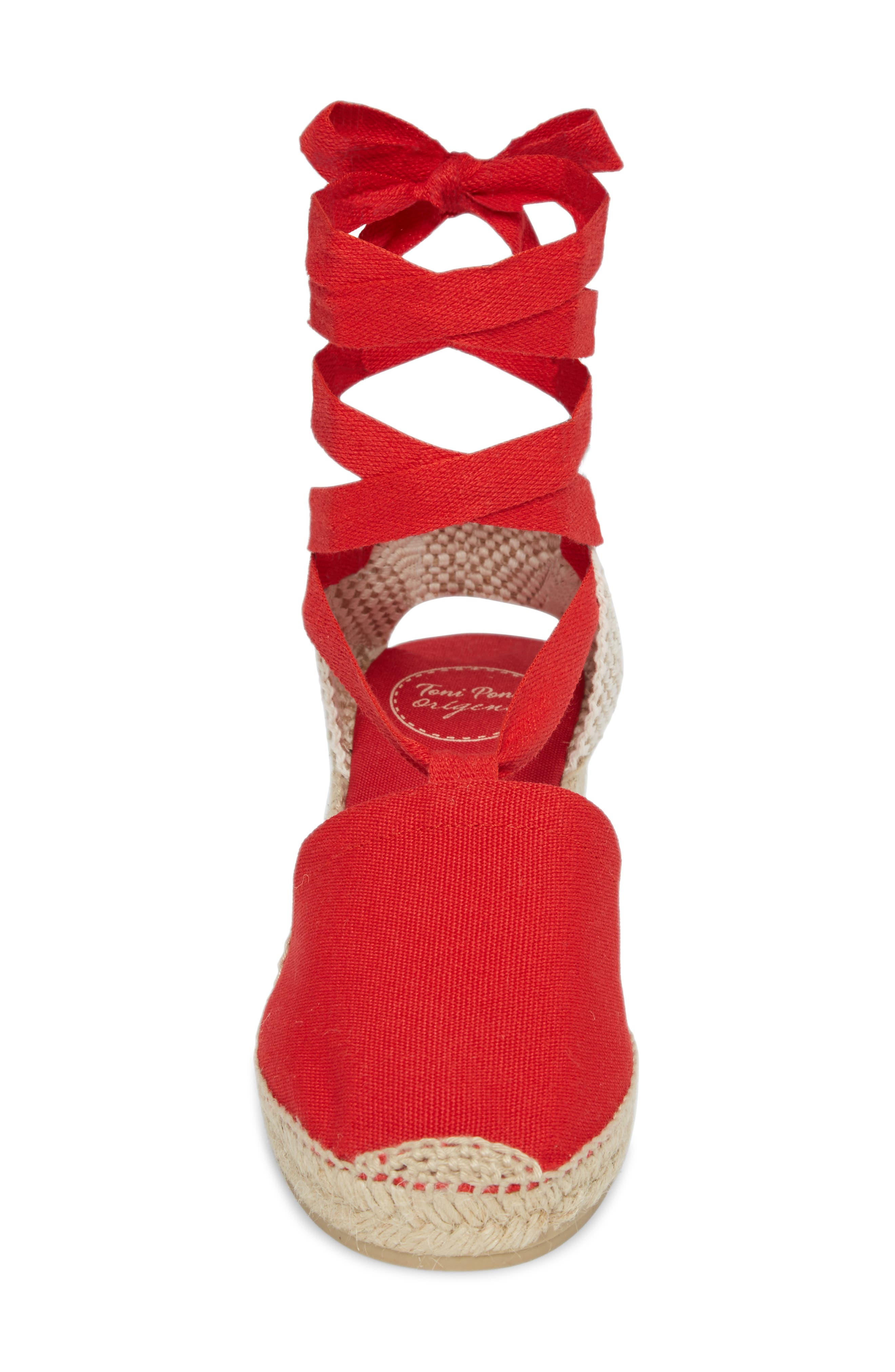 Valencia Wraparound Espadrille Wedge,                             Alternate thumbnail 4, color,                             Red Fabric