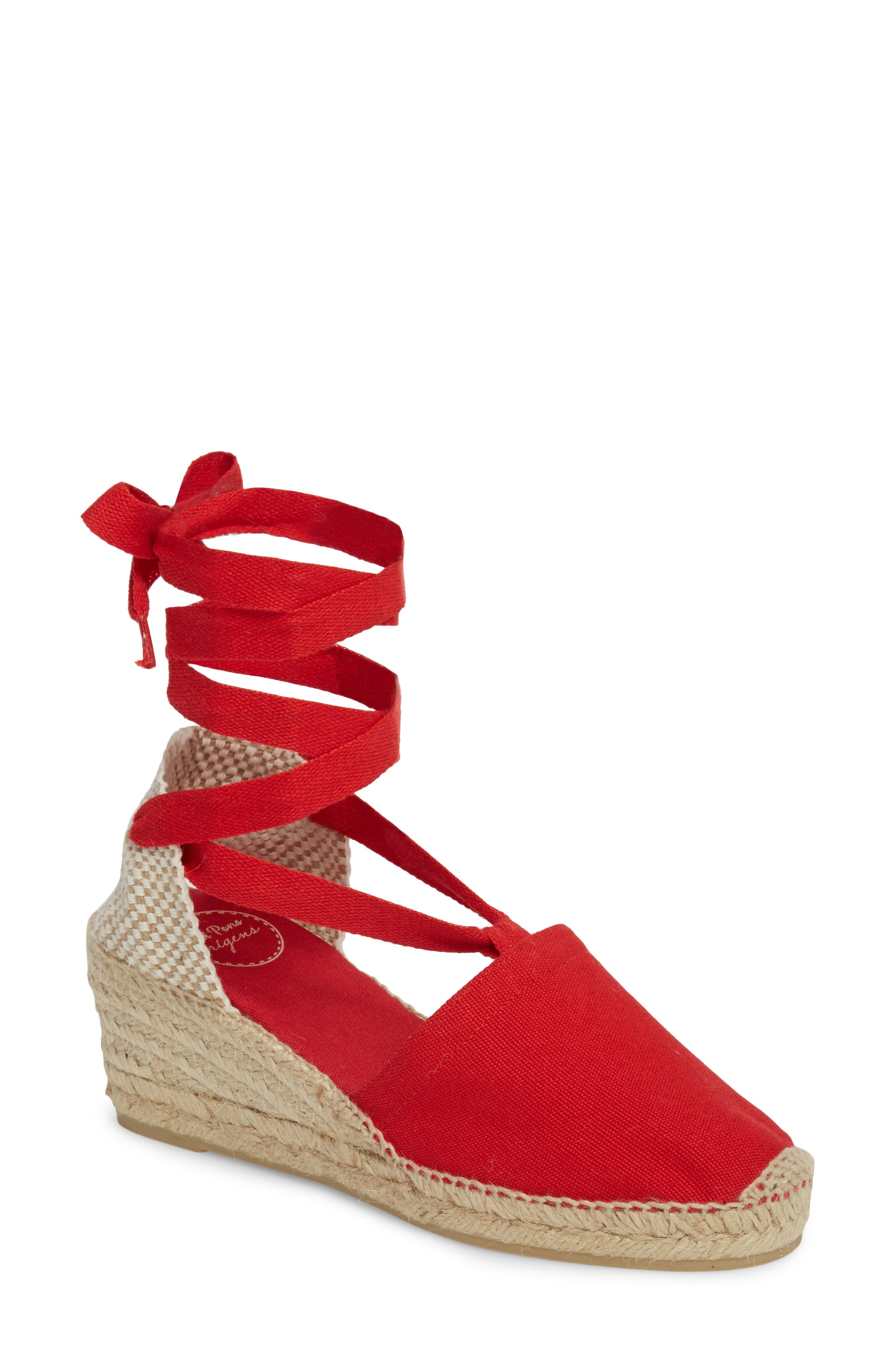 Valencia Wraparound Espadrille Wedge,                             Main thumbnail 1, color,                             Red Fabric
