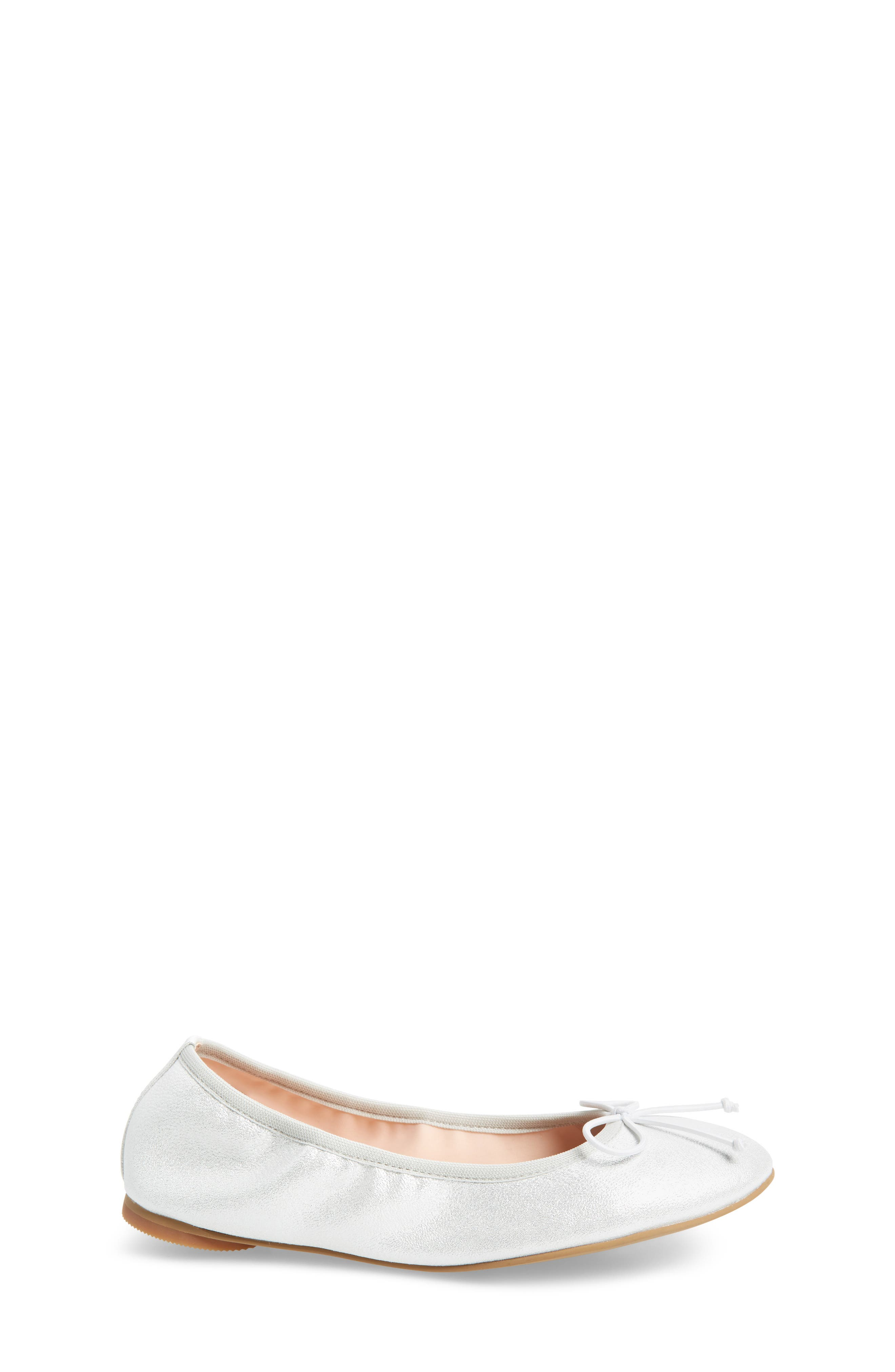 Bella Ballet Flat,                             Alternate thumbnail 3, color,                             Silver Shimmer Faux Leather